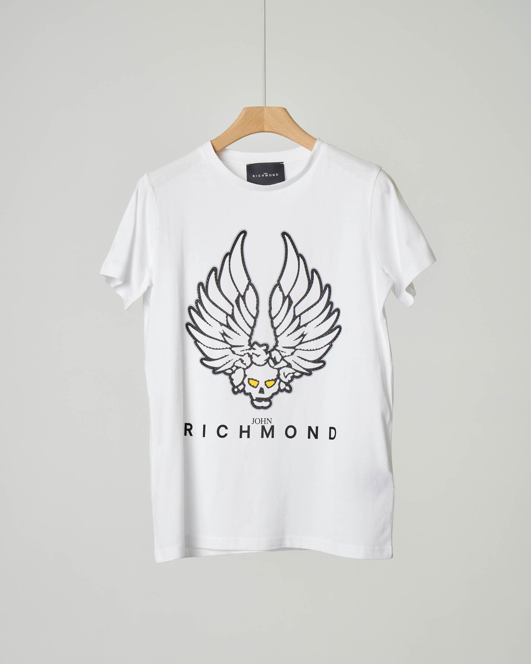 T-shirt bianca con stampa teschio alato