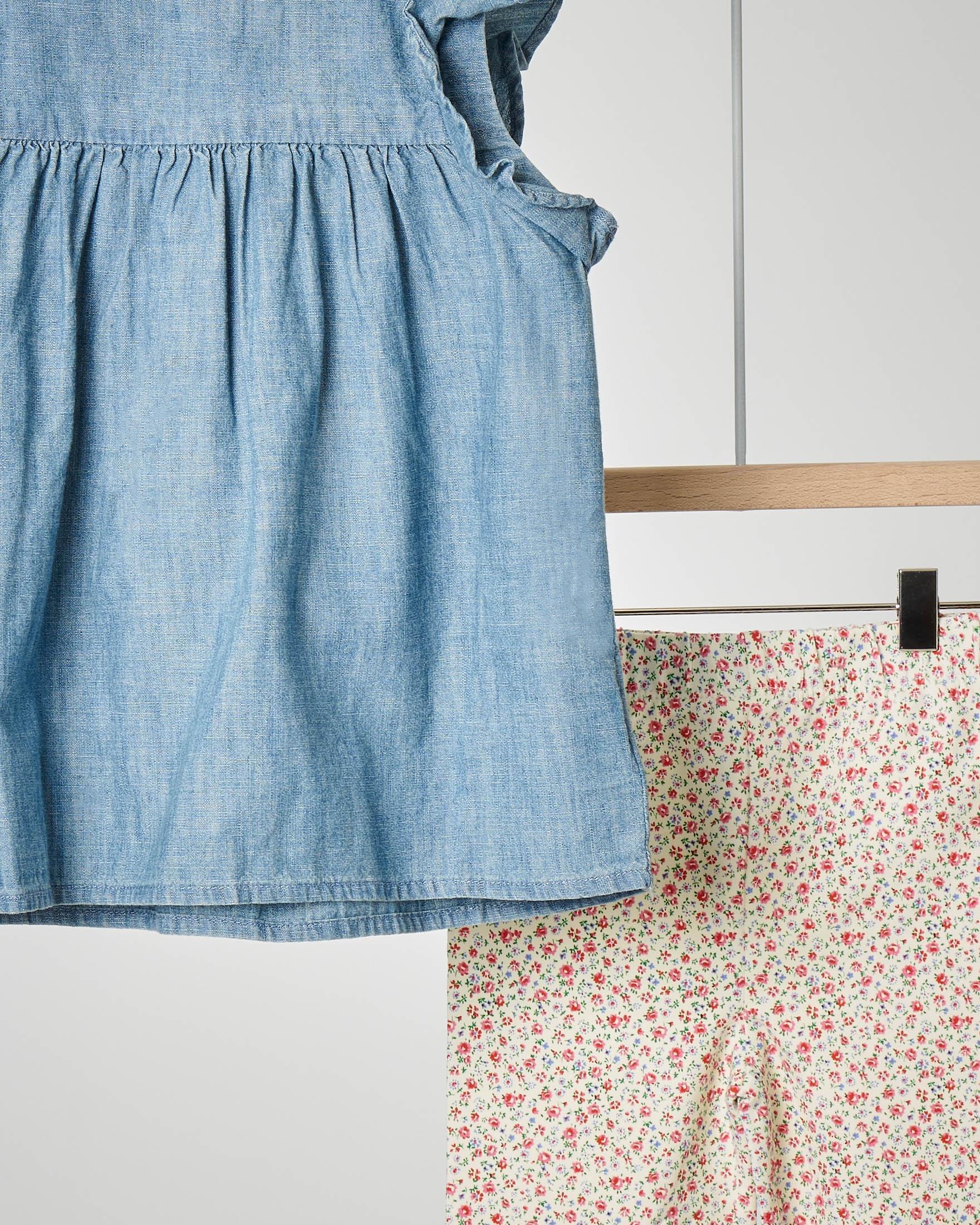 Completo camicetta chambray e leggins floreali