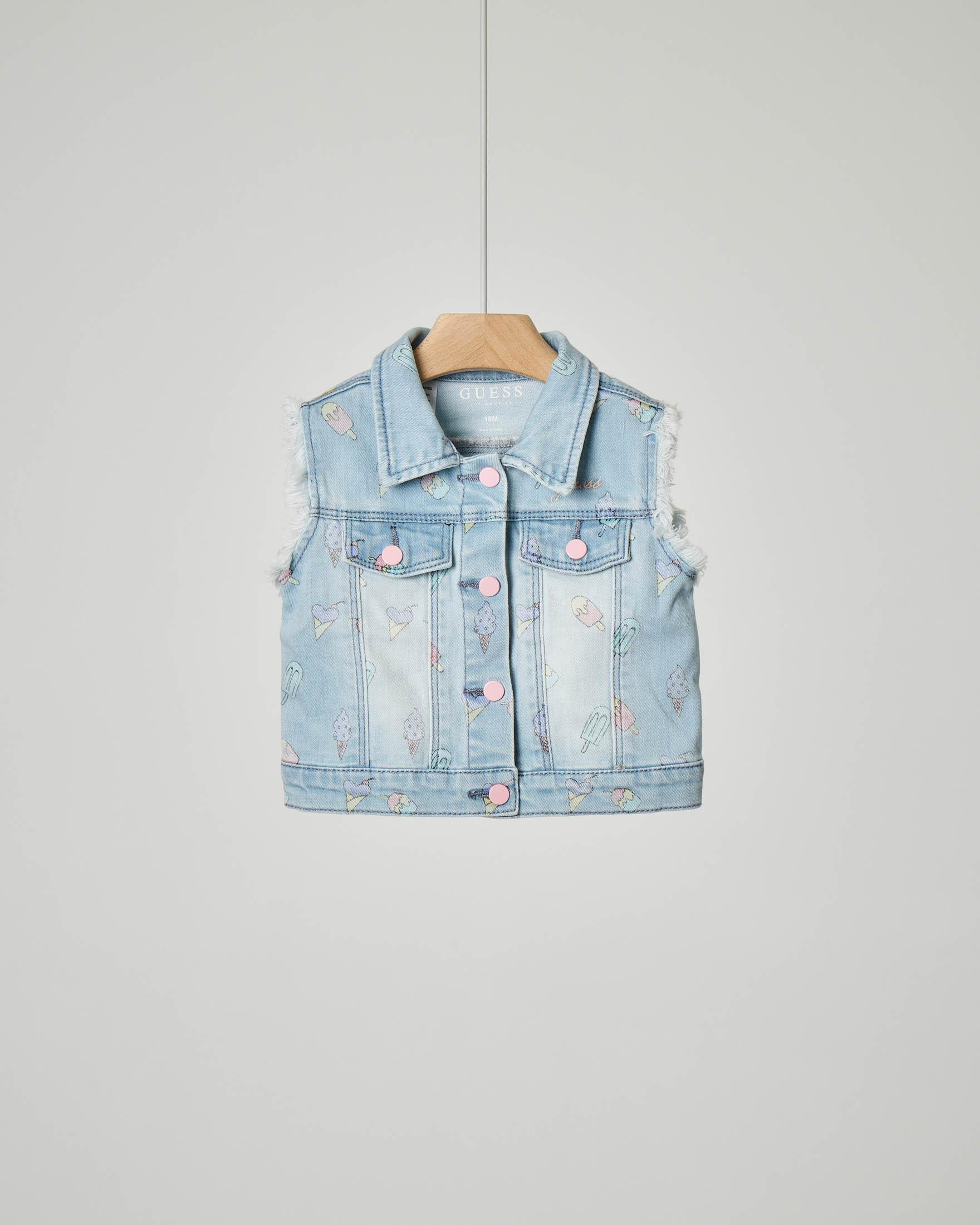 Gilet in denim con stampa gelati