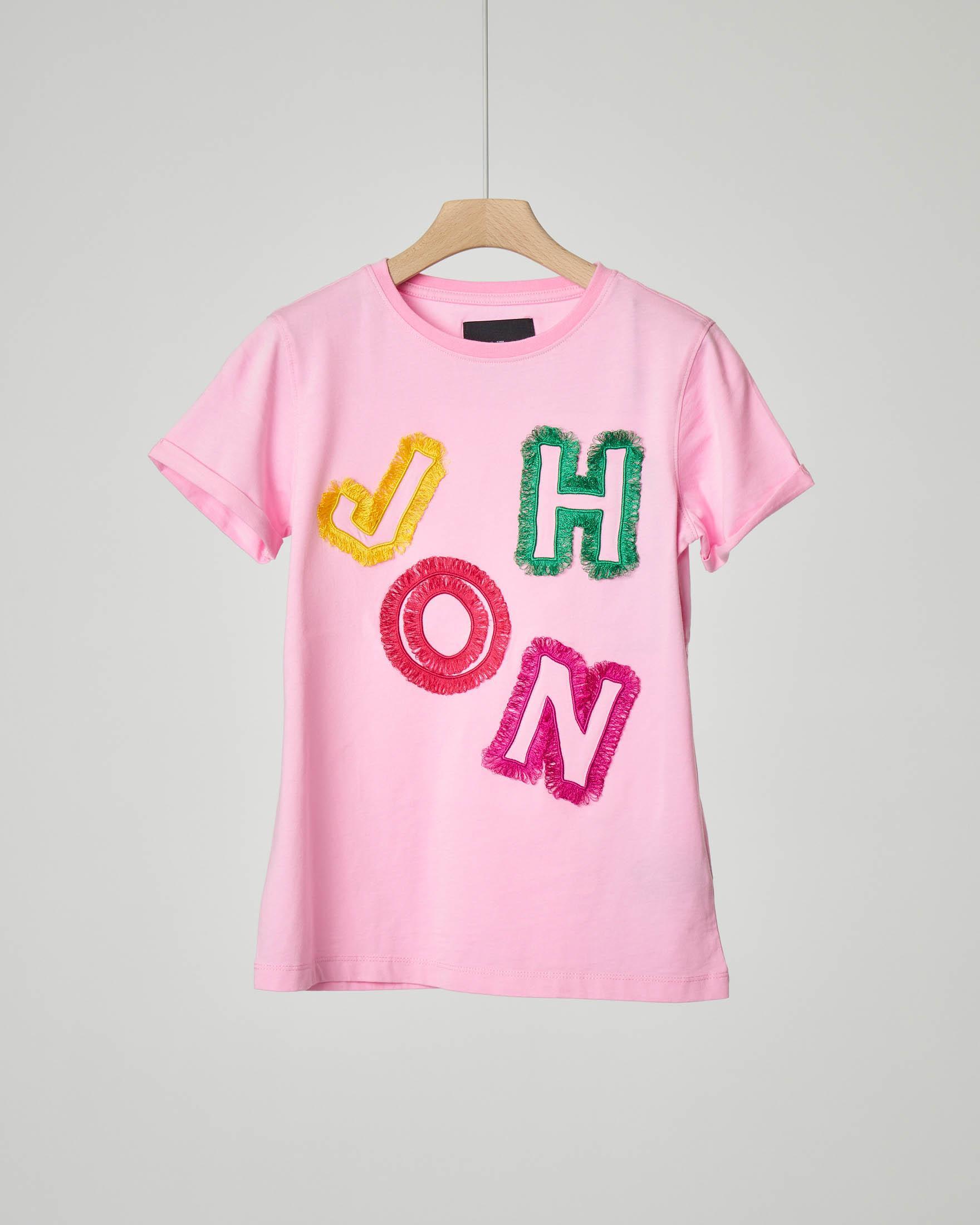 T-shirt rosa con logo multicolor sfrangiato