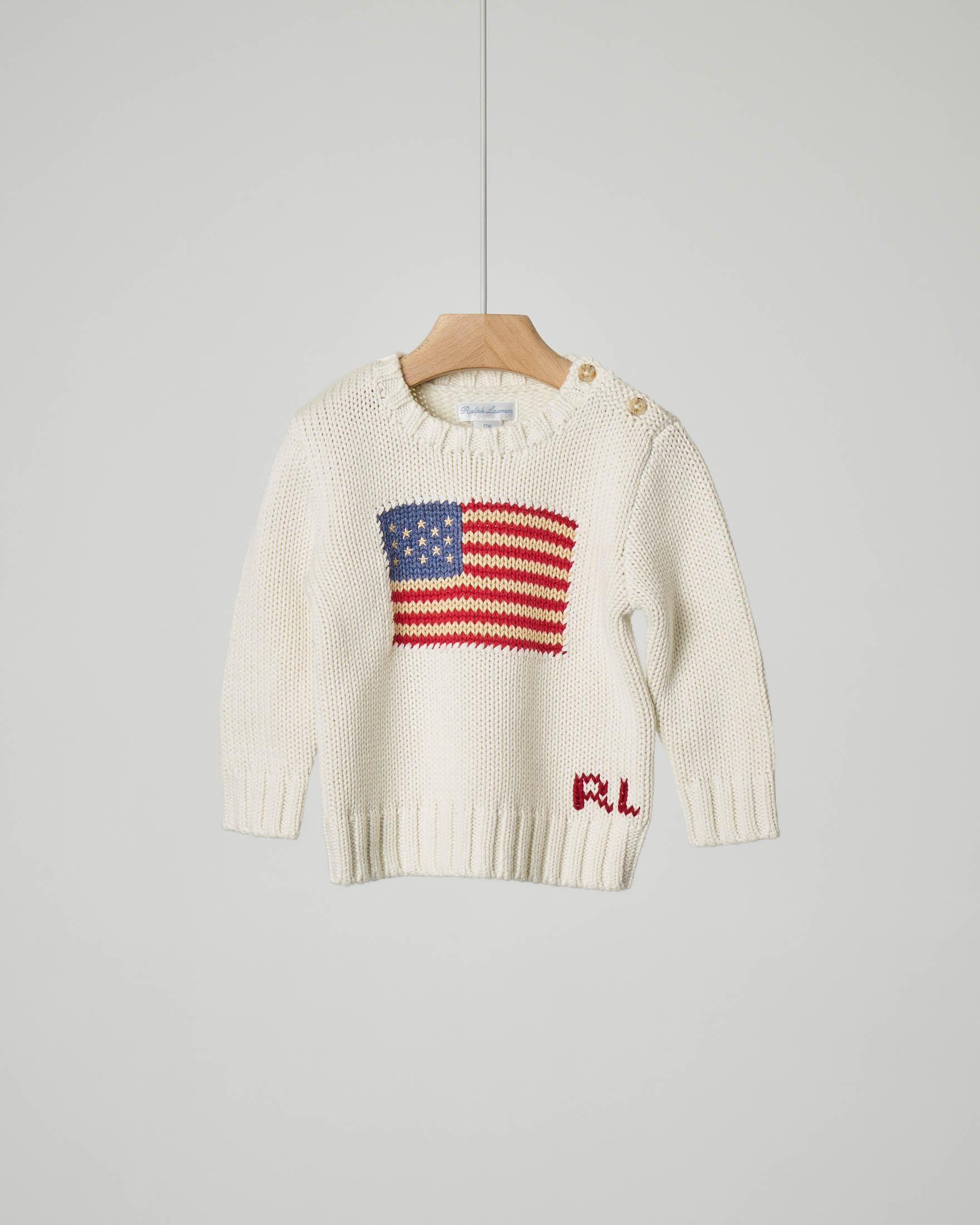 Maglia bianca con bandiera USA