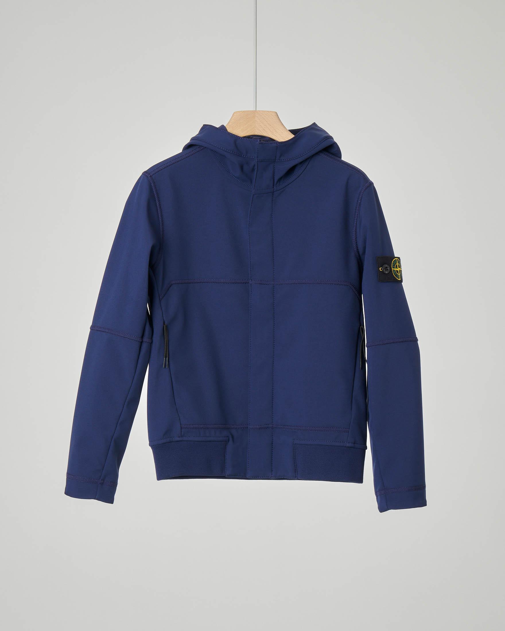 Giacca blu in Soft Shell con cappuccio 8 anni