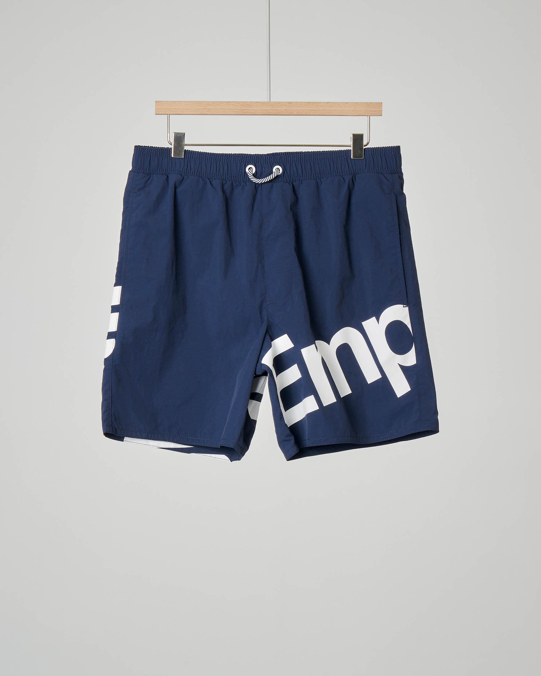 Boxer mare blu con maxi-logo