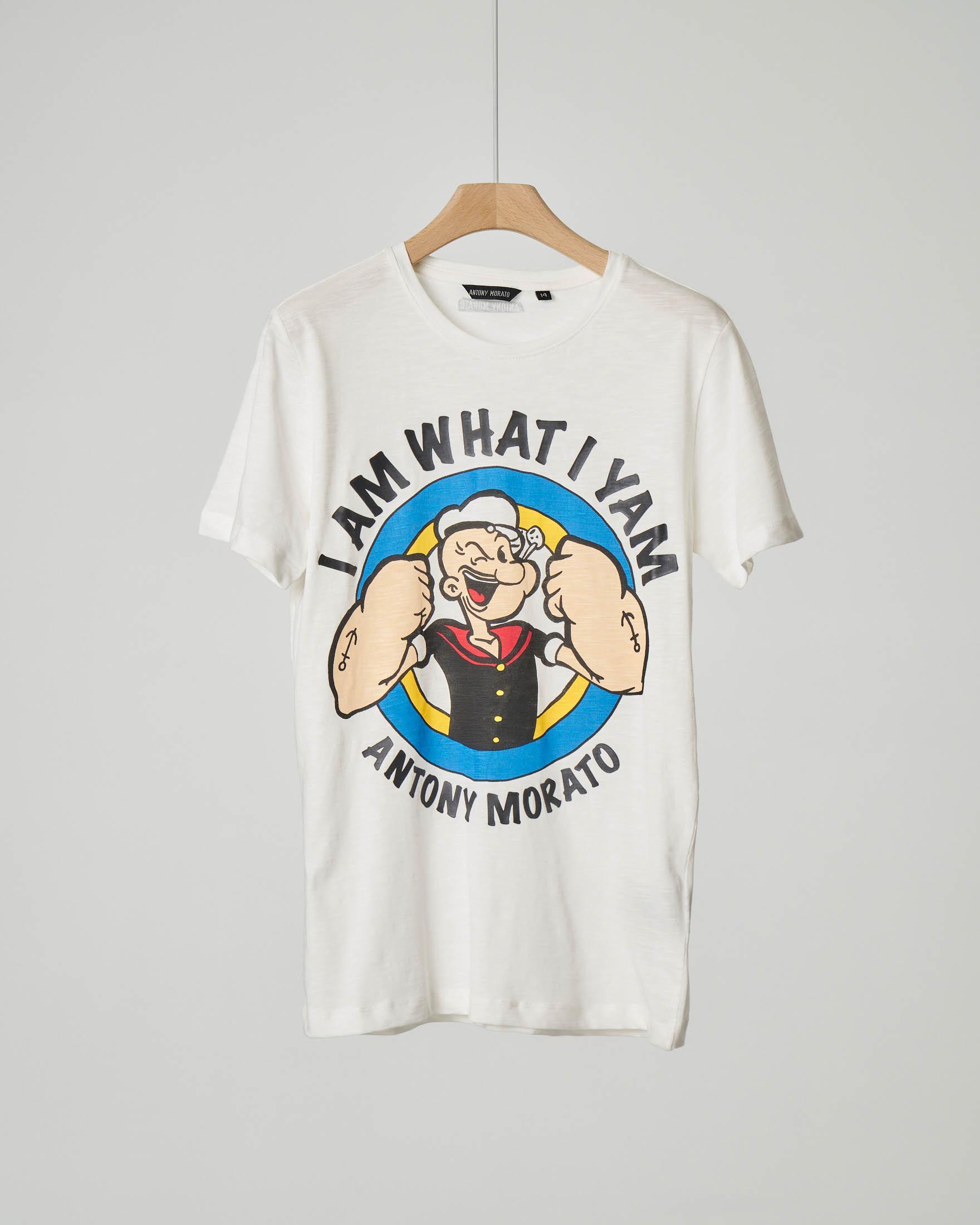T-shirt bianca con stampa Braccio di Ferro