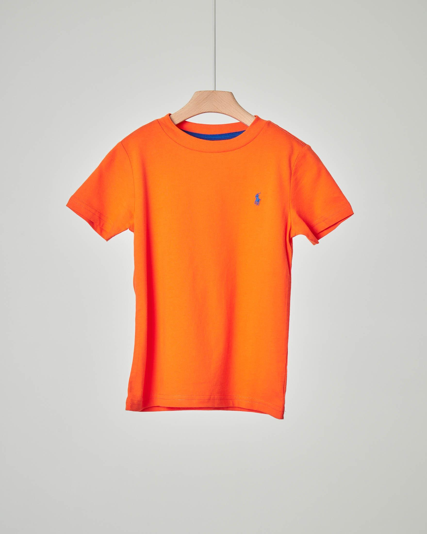 T-shirt arancione con logo pony blu royal