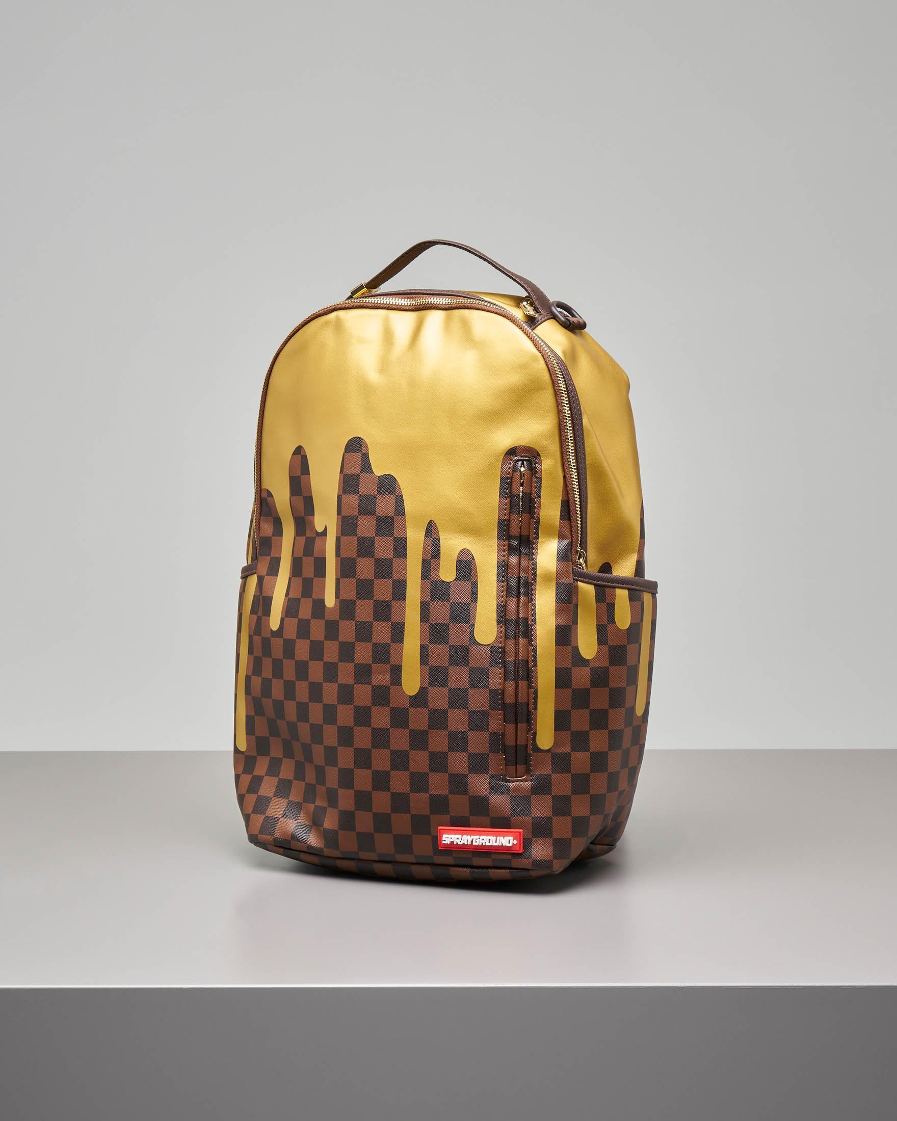 Zaino colata d'oro marrone a scacchi