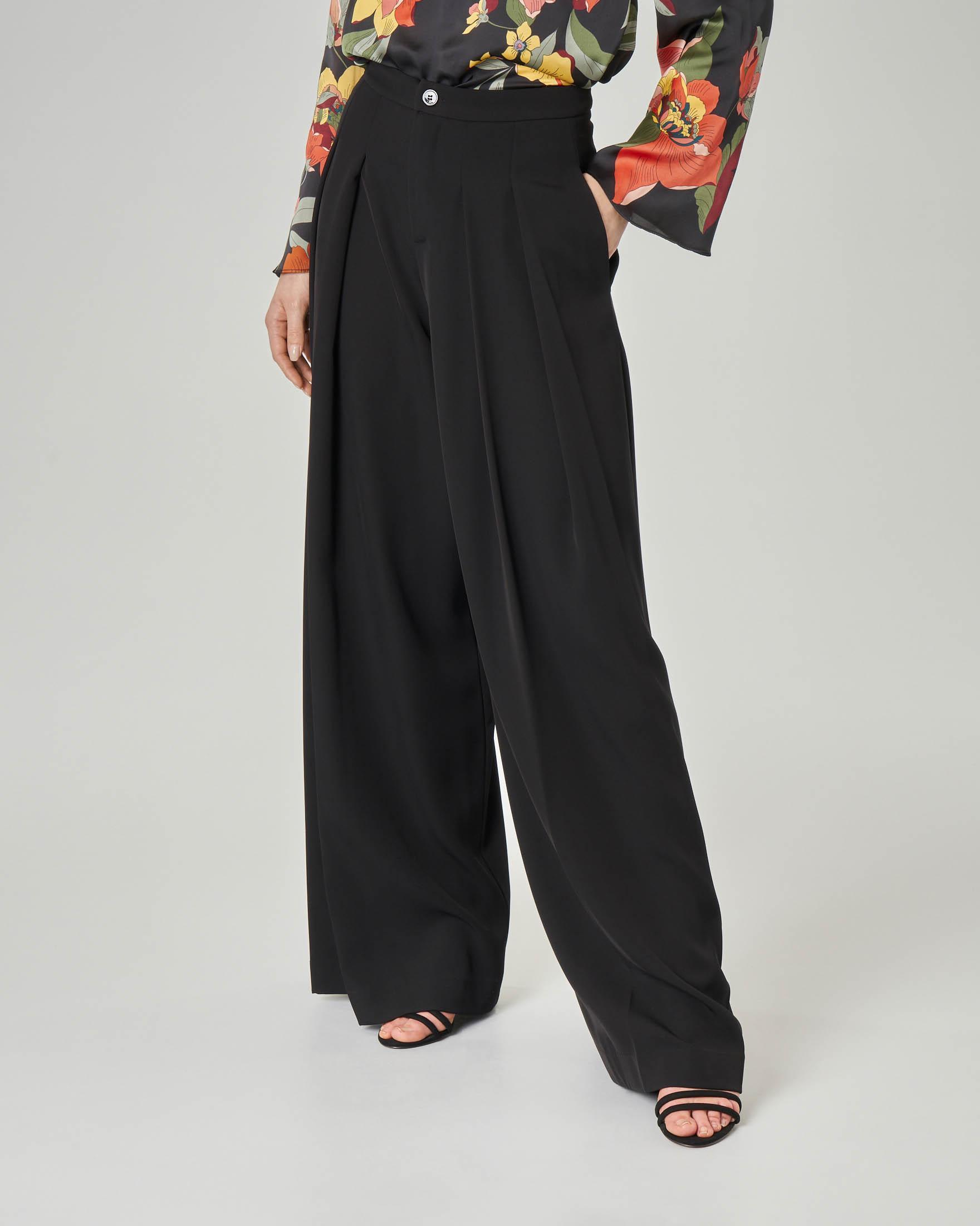 Pantalone palazzo nero in cady con doppia pince
