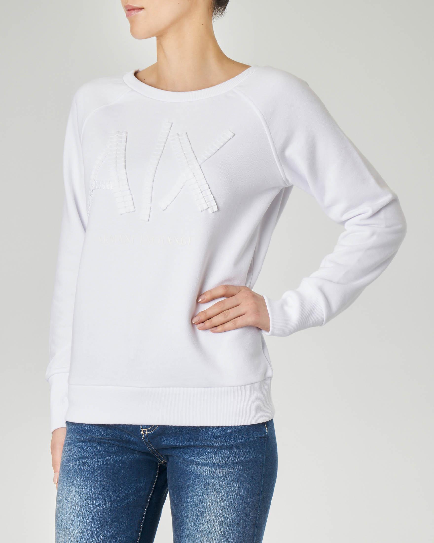 Felpa bianca girocollo con scritta logo in passamaneria tono su tono