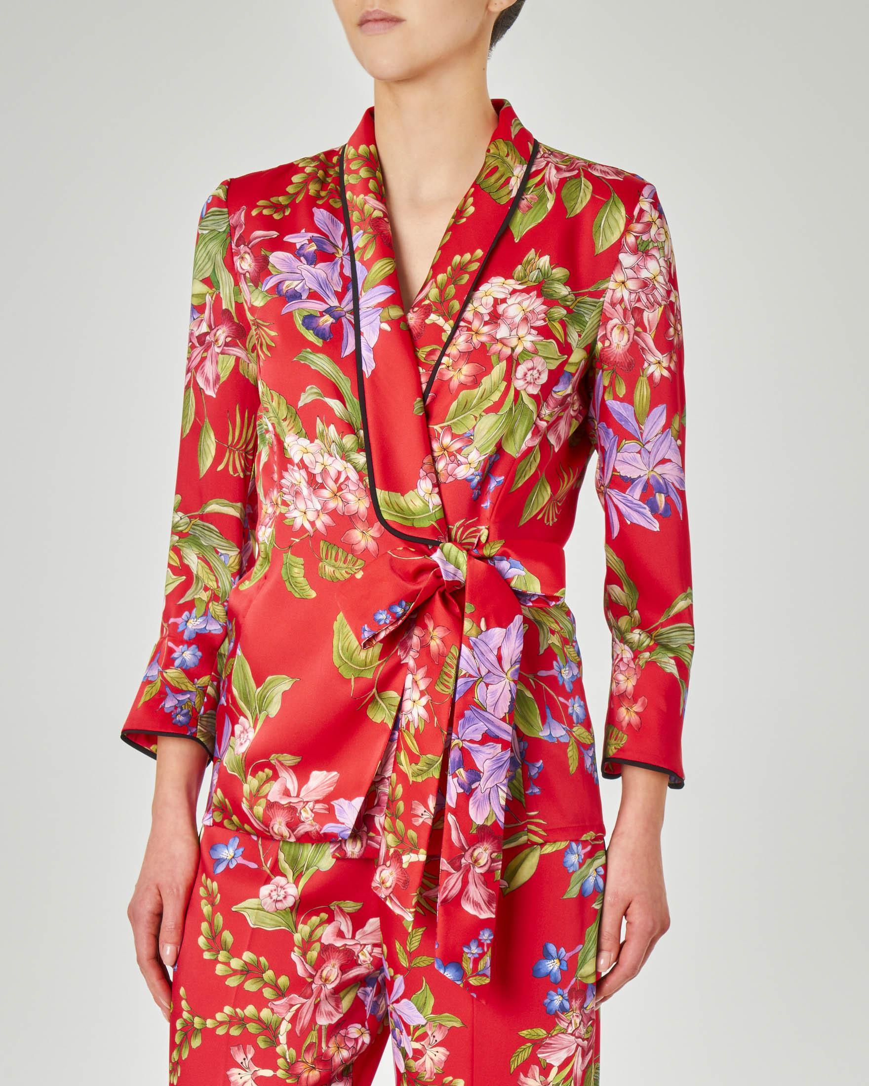 Giacca blazer rosso a fantasia floreale con cintura per chiusura laterale