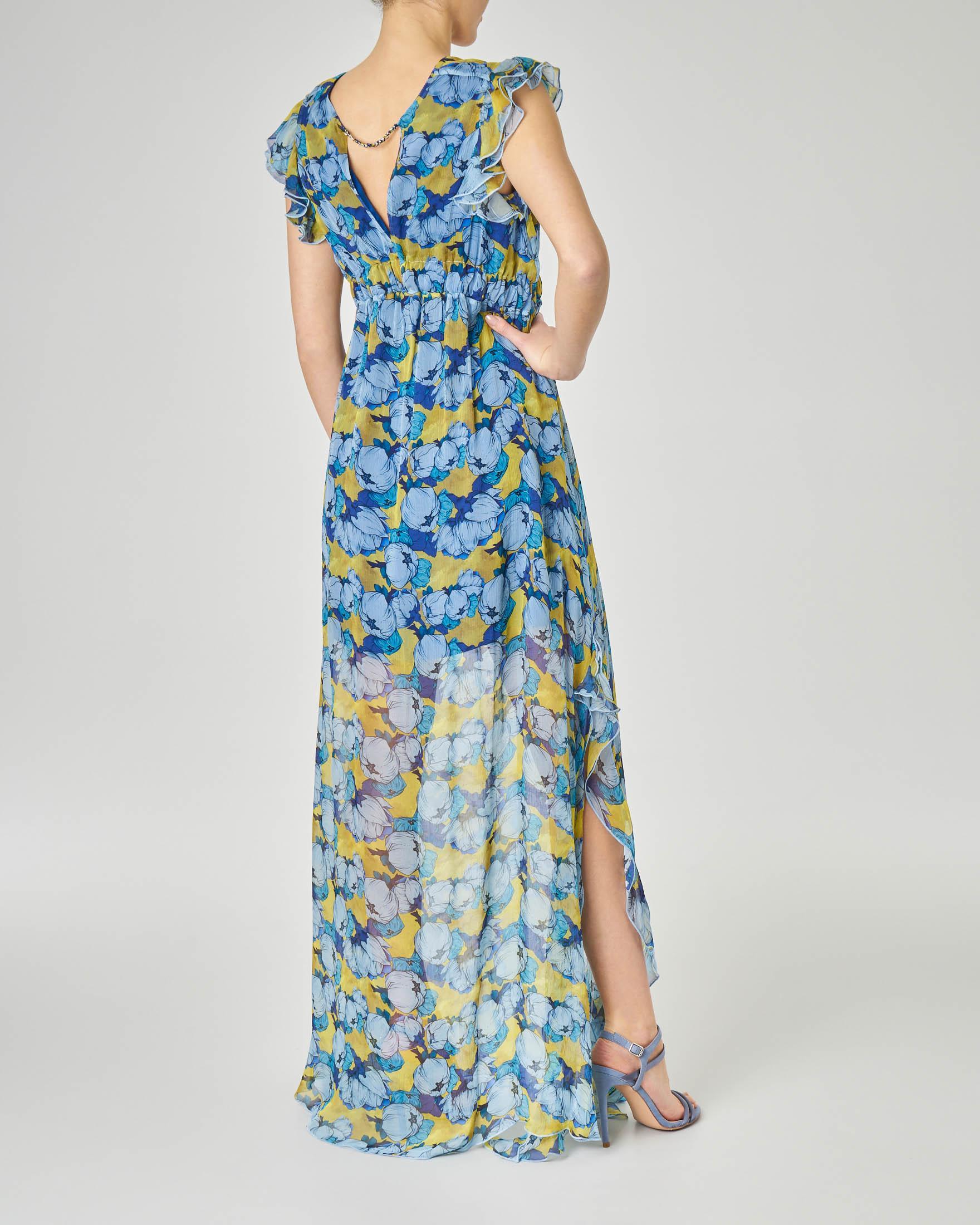 Abito lungo in georgette di viscosa a fantasia floreale azzurra con scollo a V