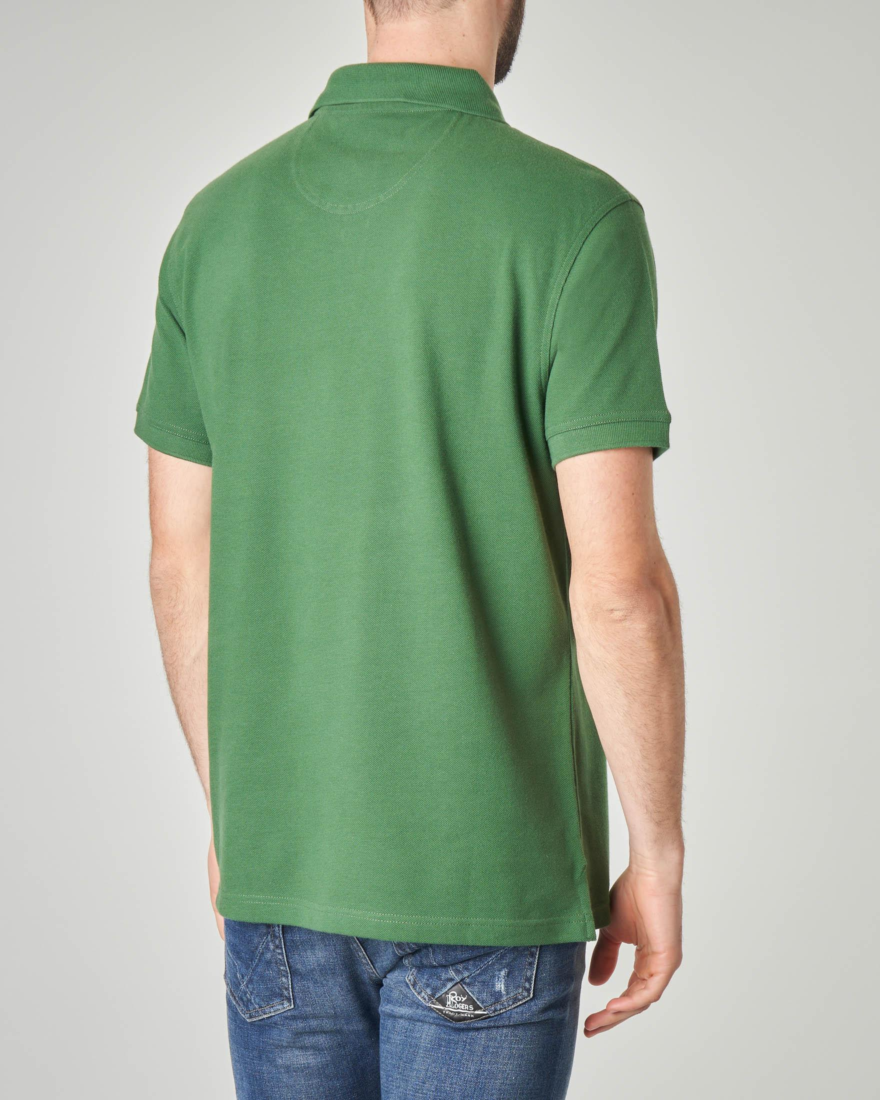 Polo verde tinta unita