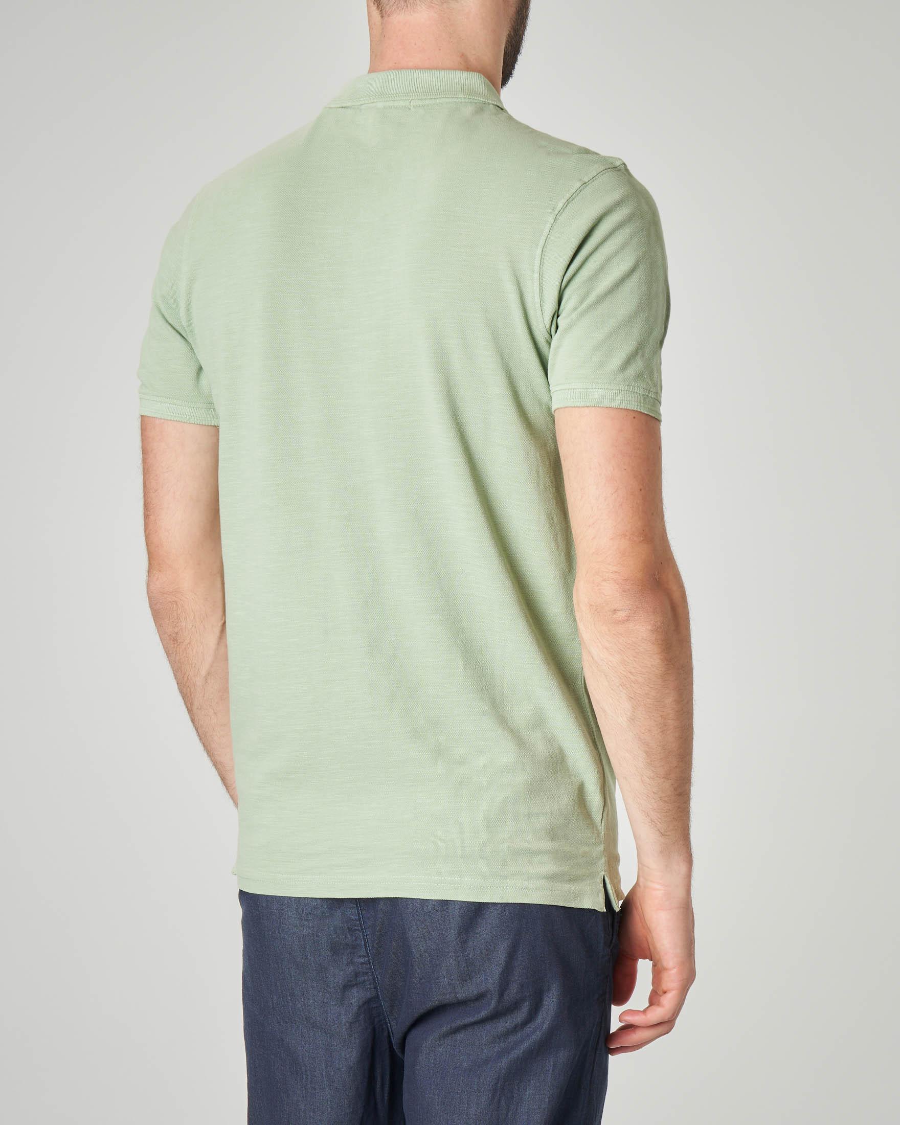 Polo verde acqua in cotone fiammato