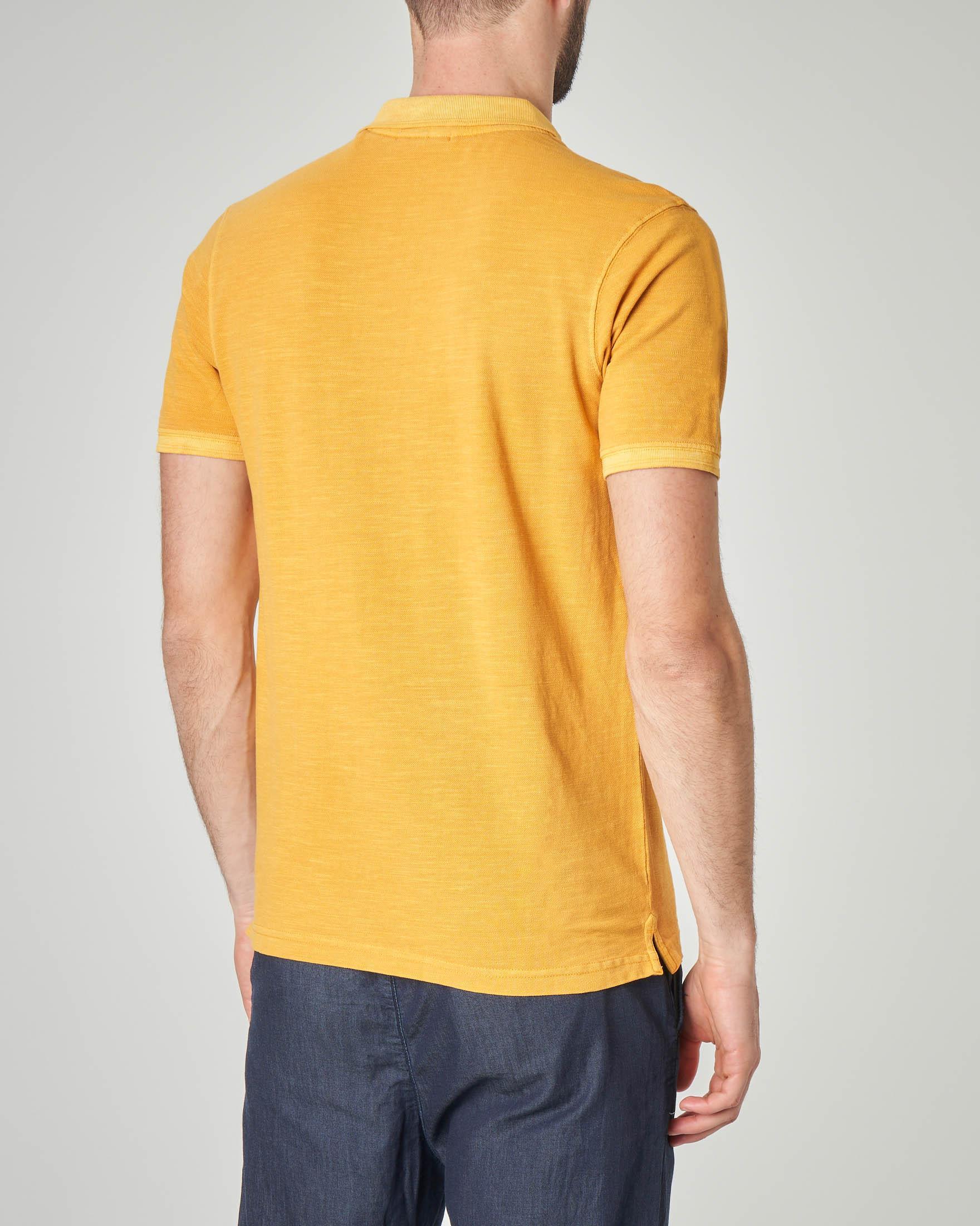 Polo gialla in cotone fiammato