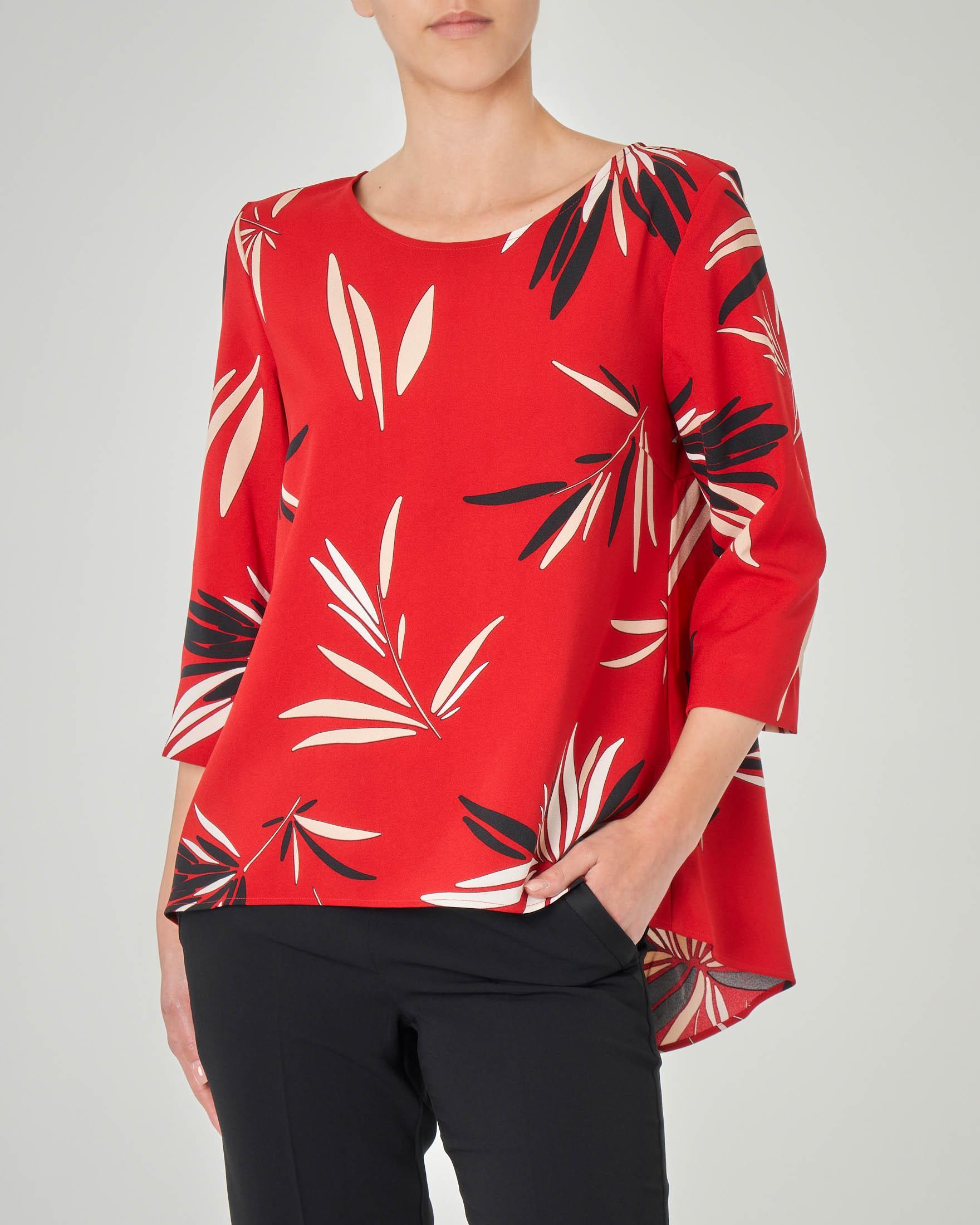 Blusa in georgette rossa a stampa foliage maniche tre quarti