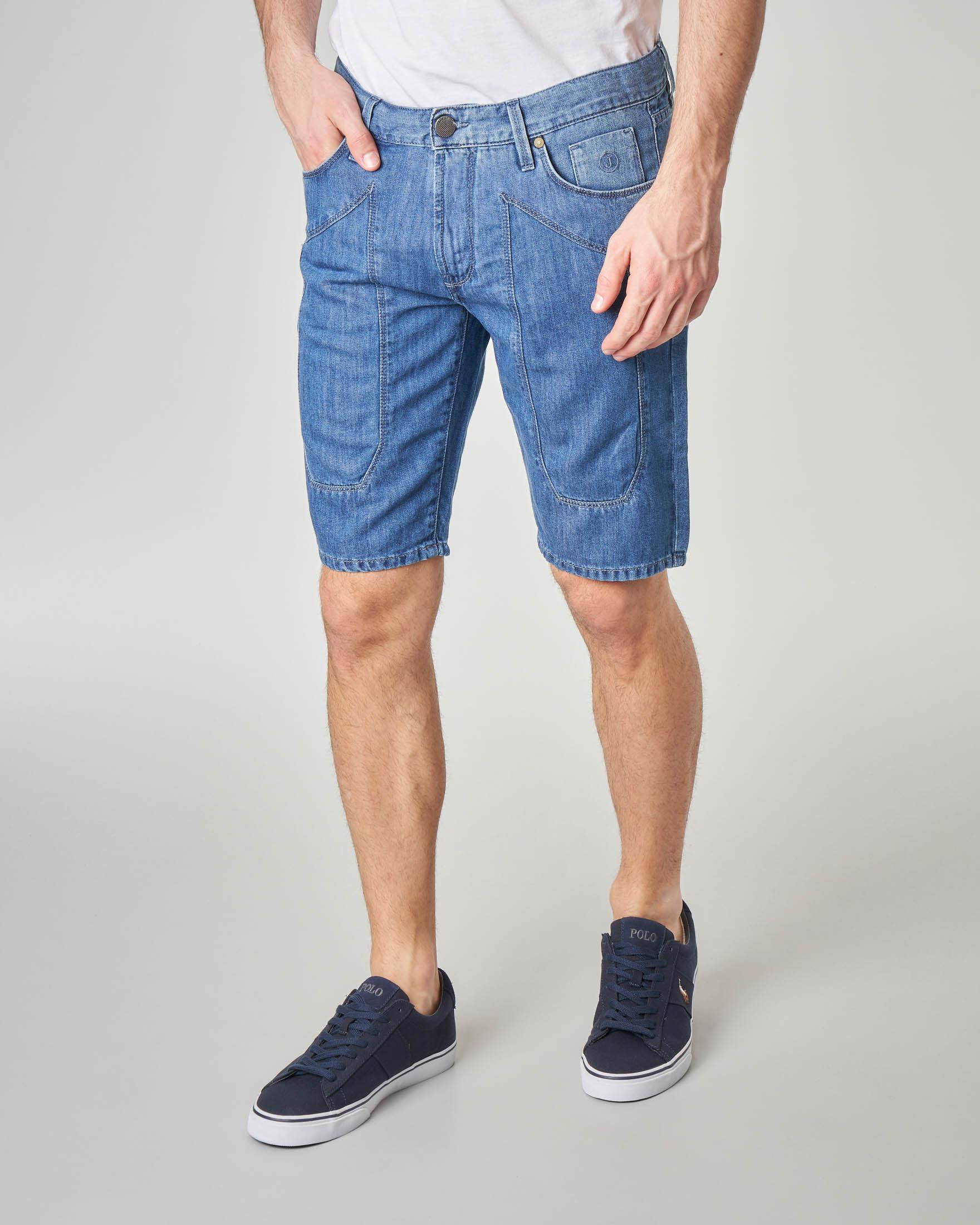 Bermuda denim in cotone e lino