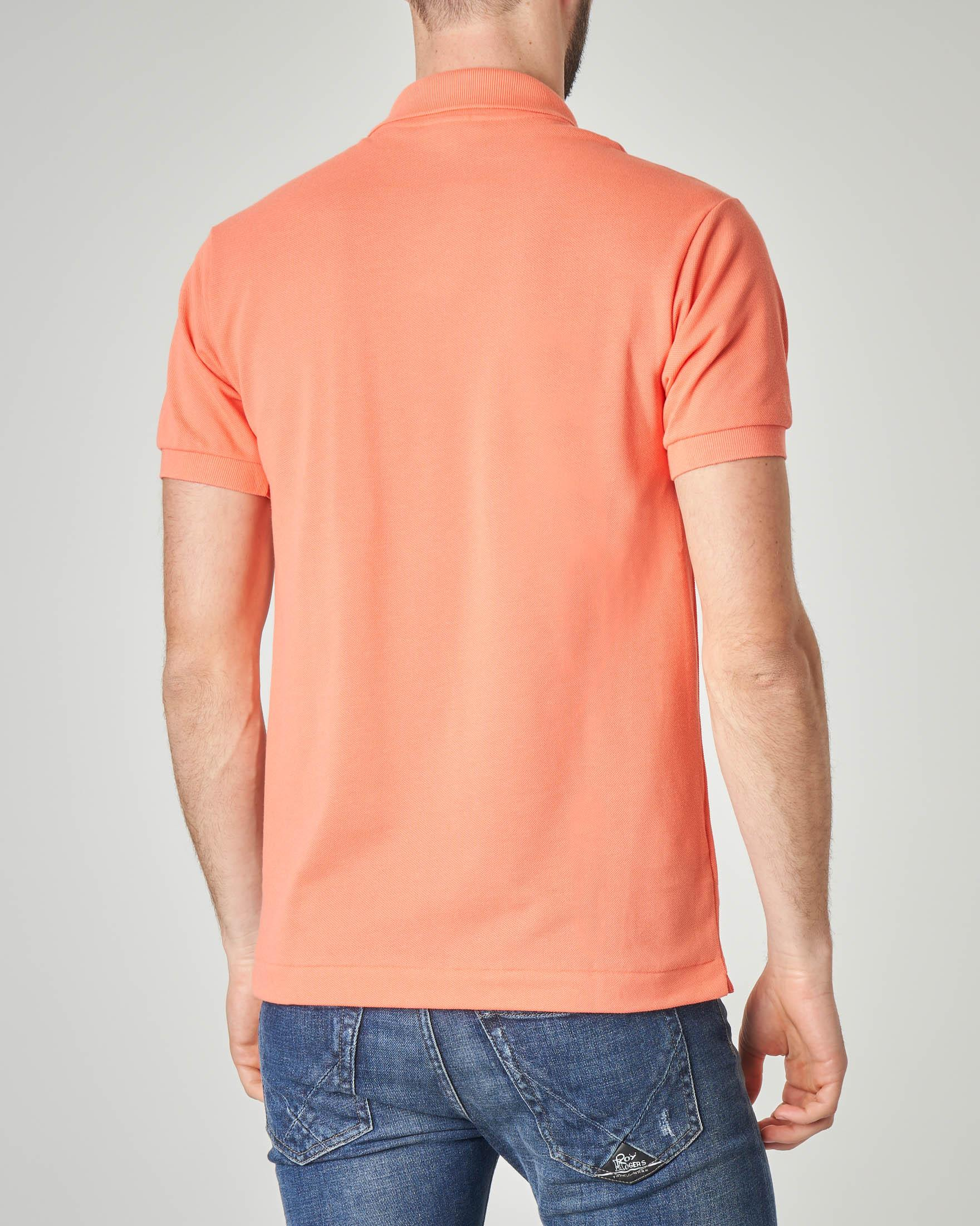 Polo arancio classic fit 1212 in petit piqué