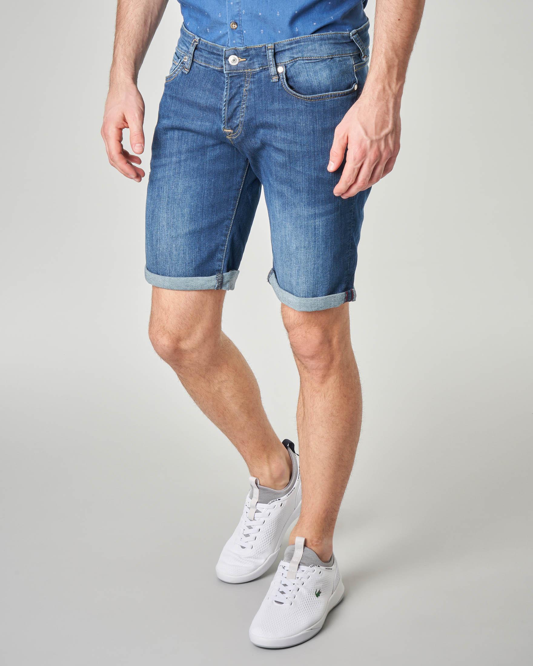 Bermuda jeans lavaggio stone wash