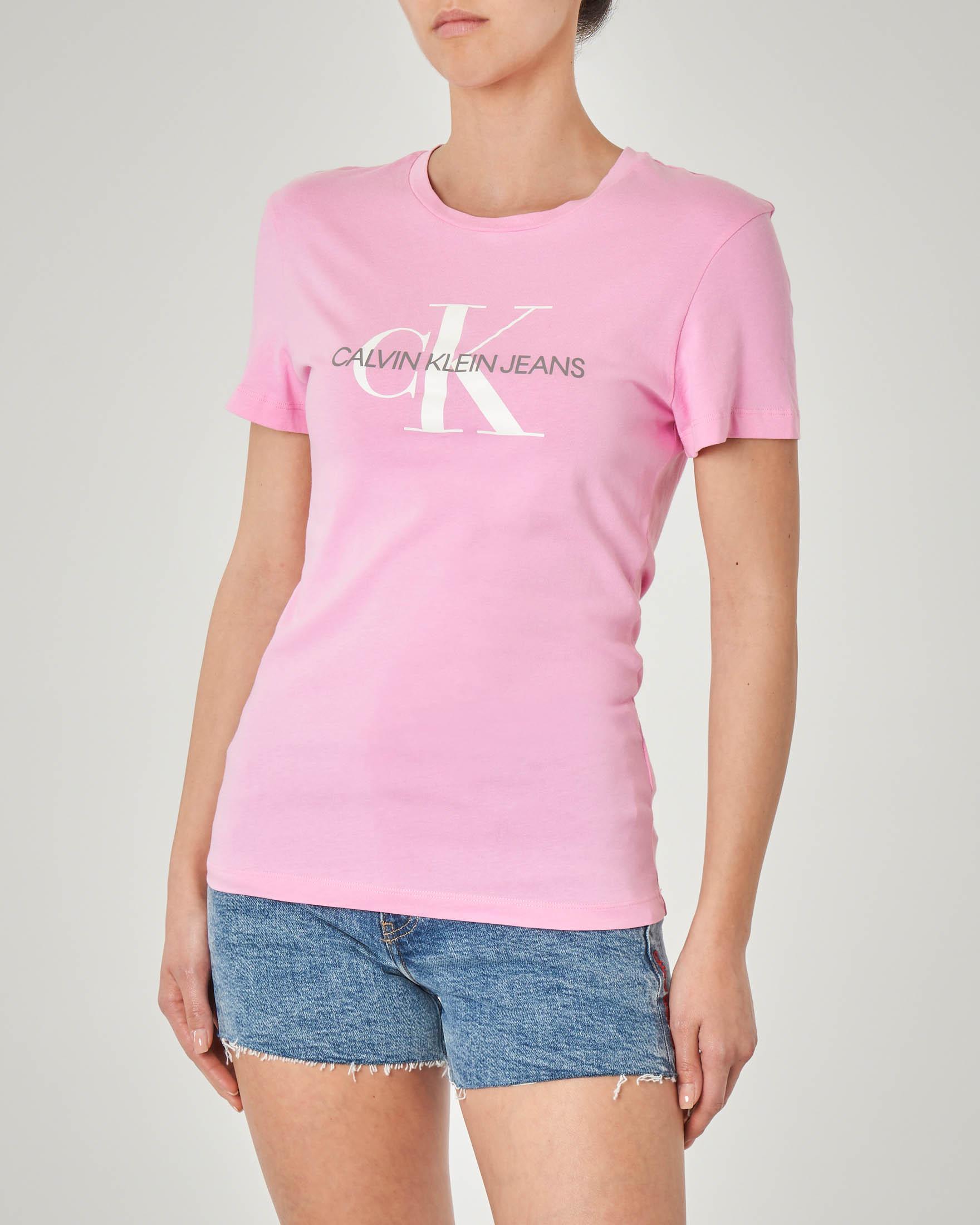 T-shirt in cotone rosa a maniche corte con logo stampato bianco