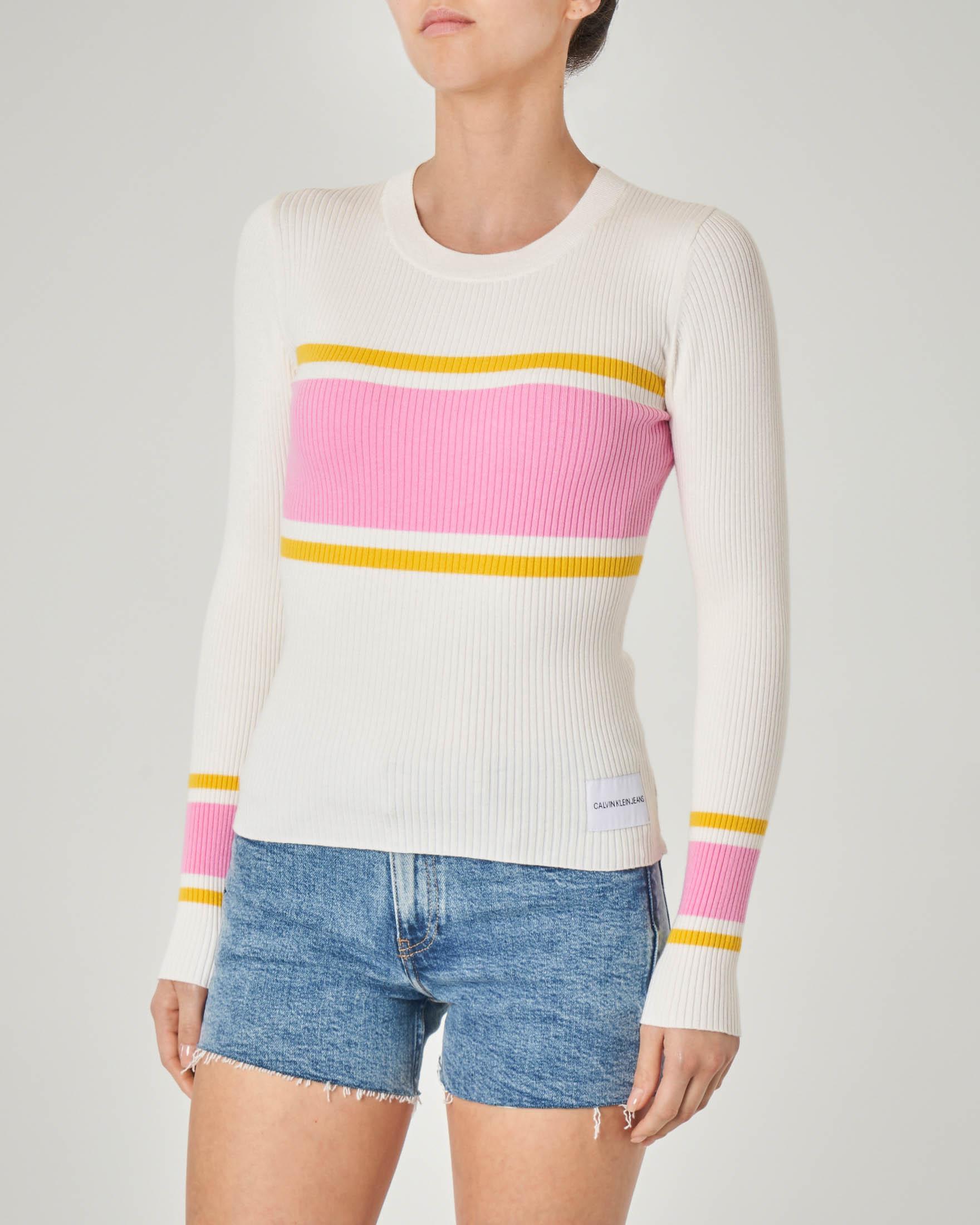 Maglia bianca maniche lunghe a costine e a righe rosa e gialle