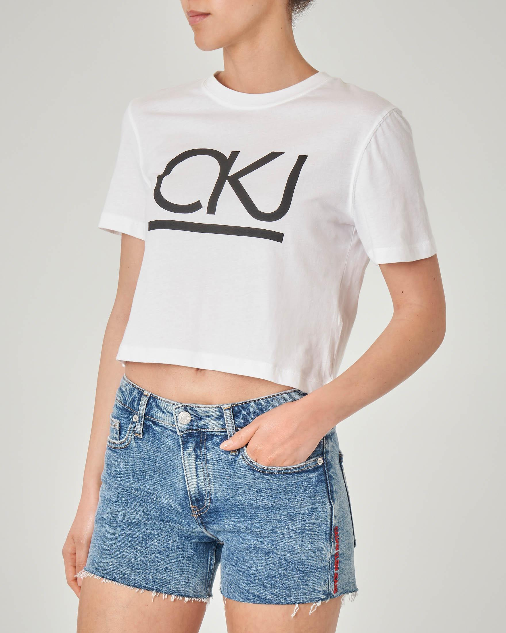 T-shirt cropped in cotone organico bianca cropped con logo nero