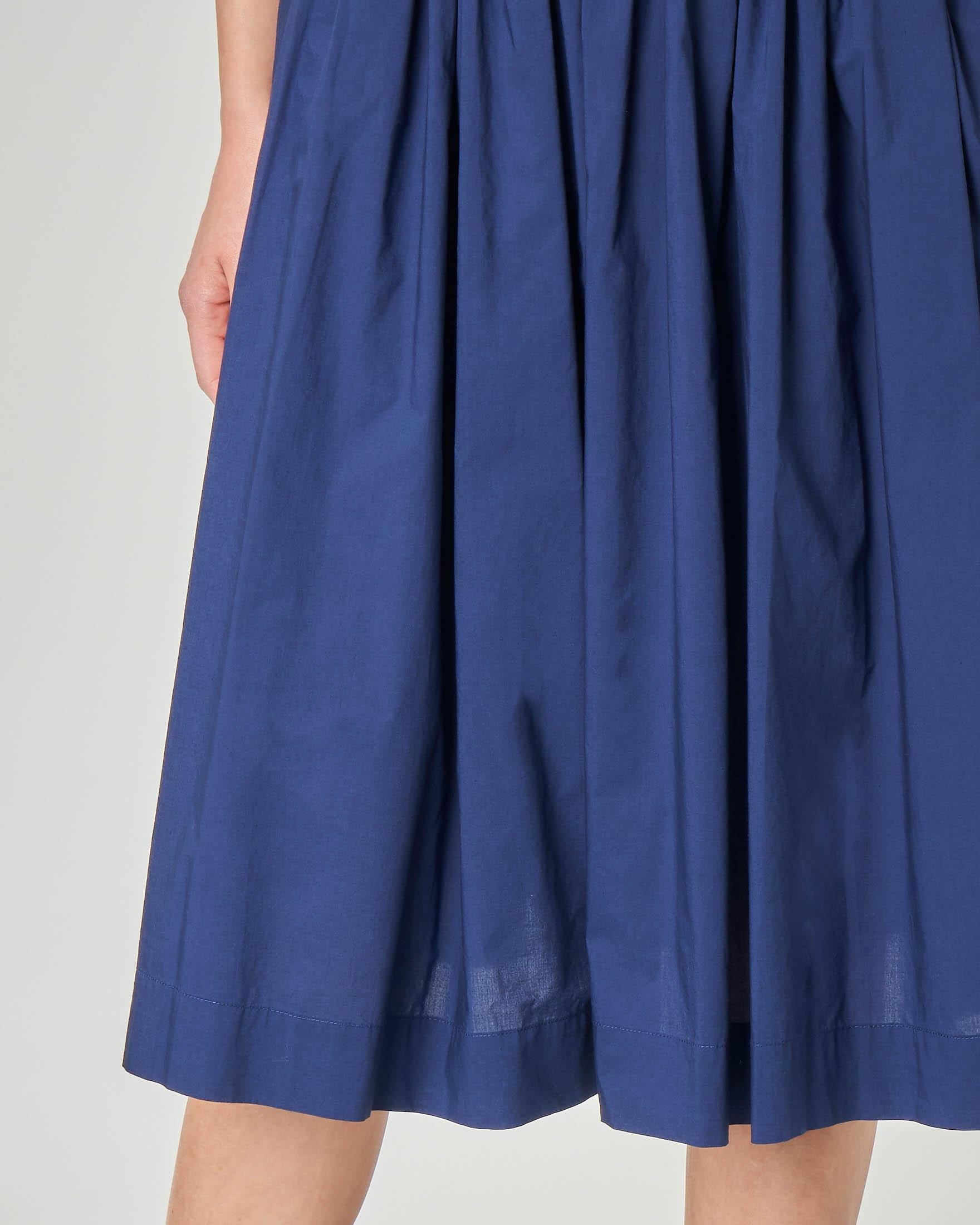 Gonna midi blu in cotone con elastico in vita