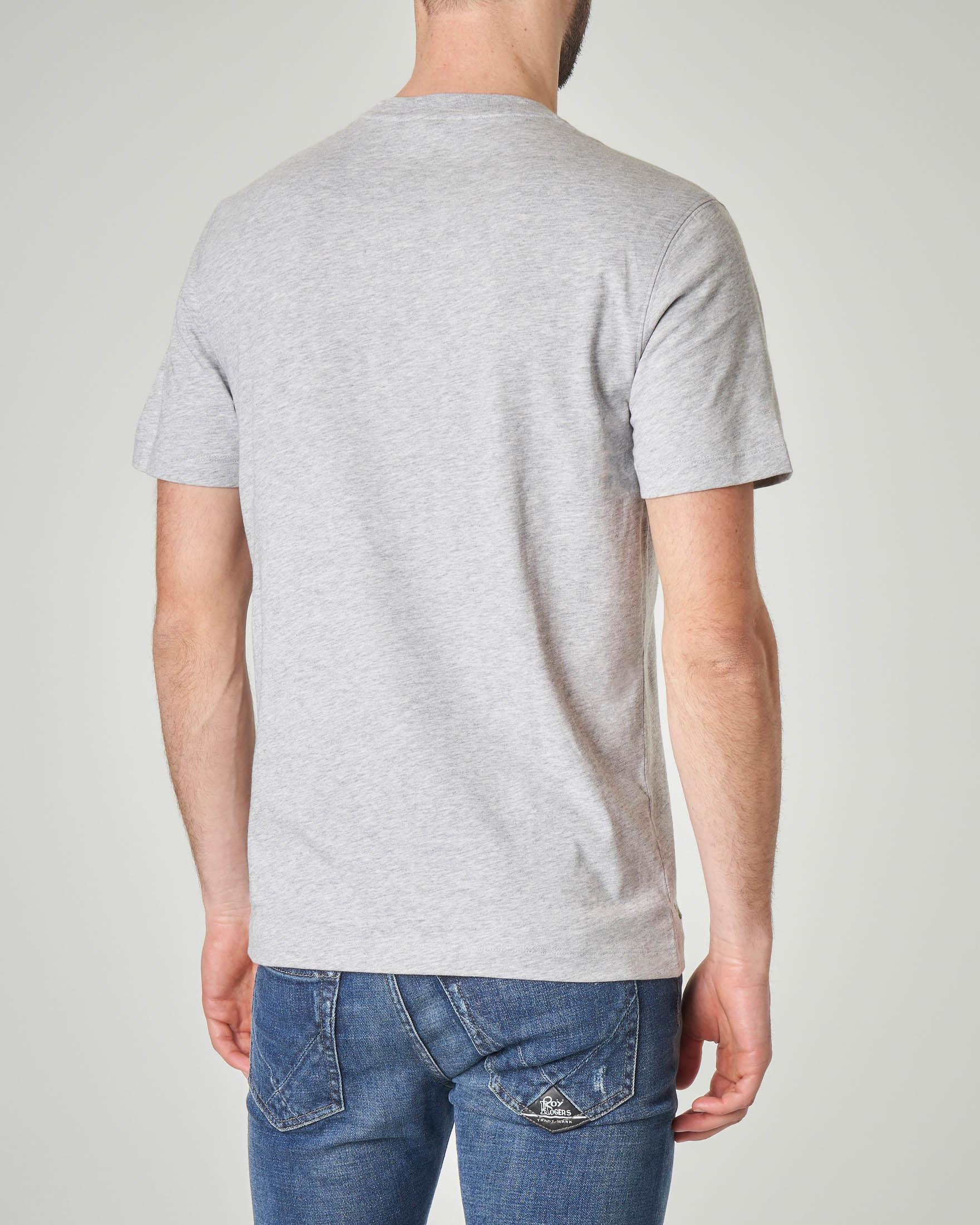 T-shirt grigio melange con logo hawaiano