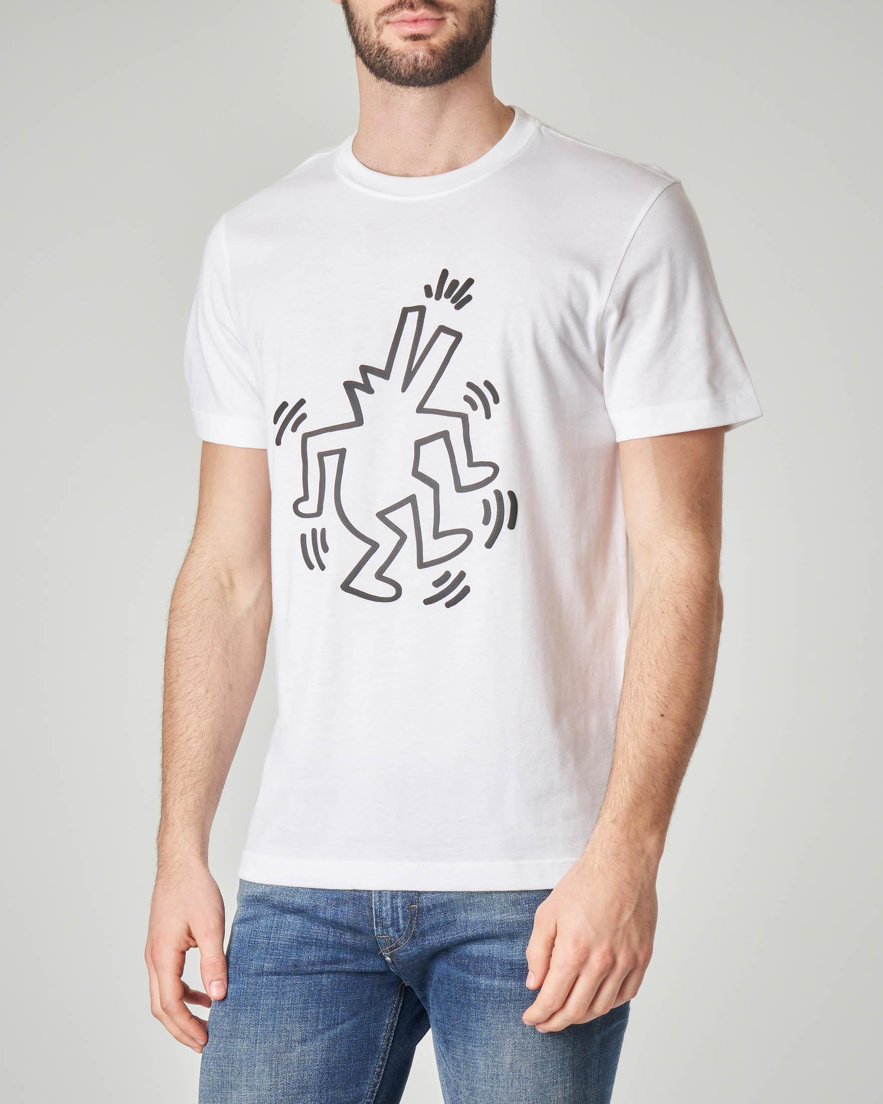 T-shirt bianca con stampa Keith Haring