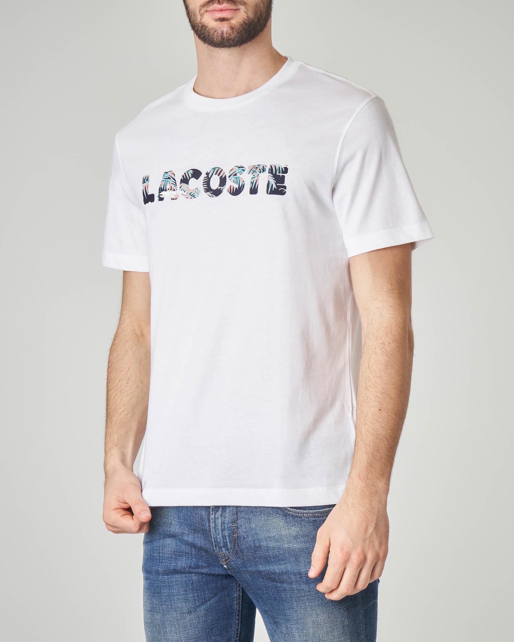 T-shirt bianca con logo hawaiano