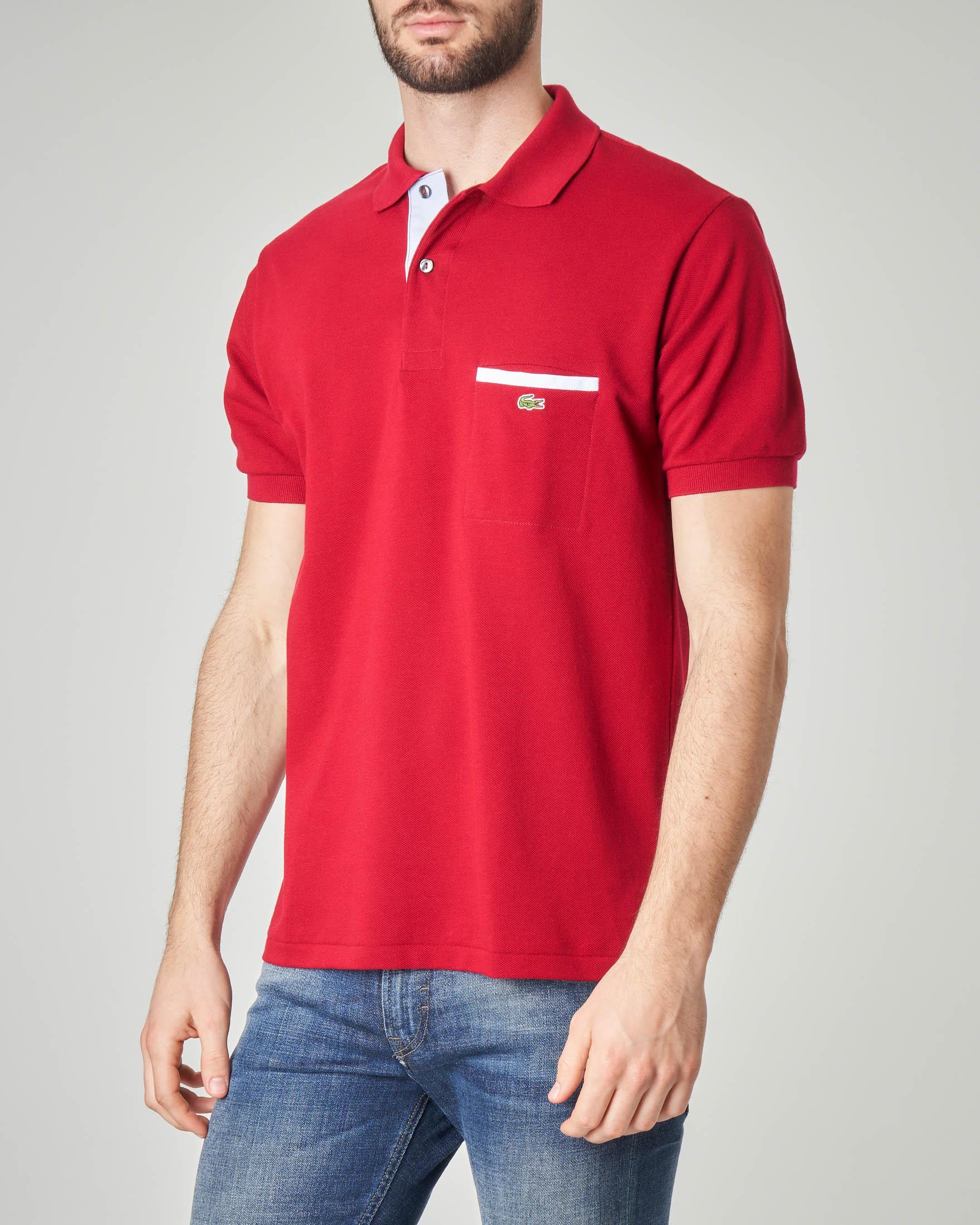 Polo rossa con taschino