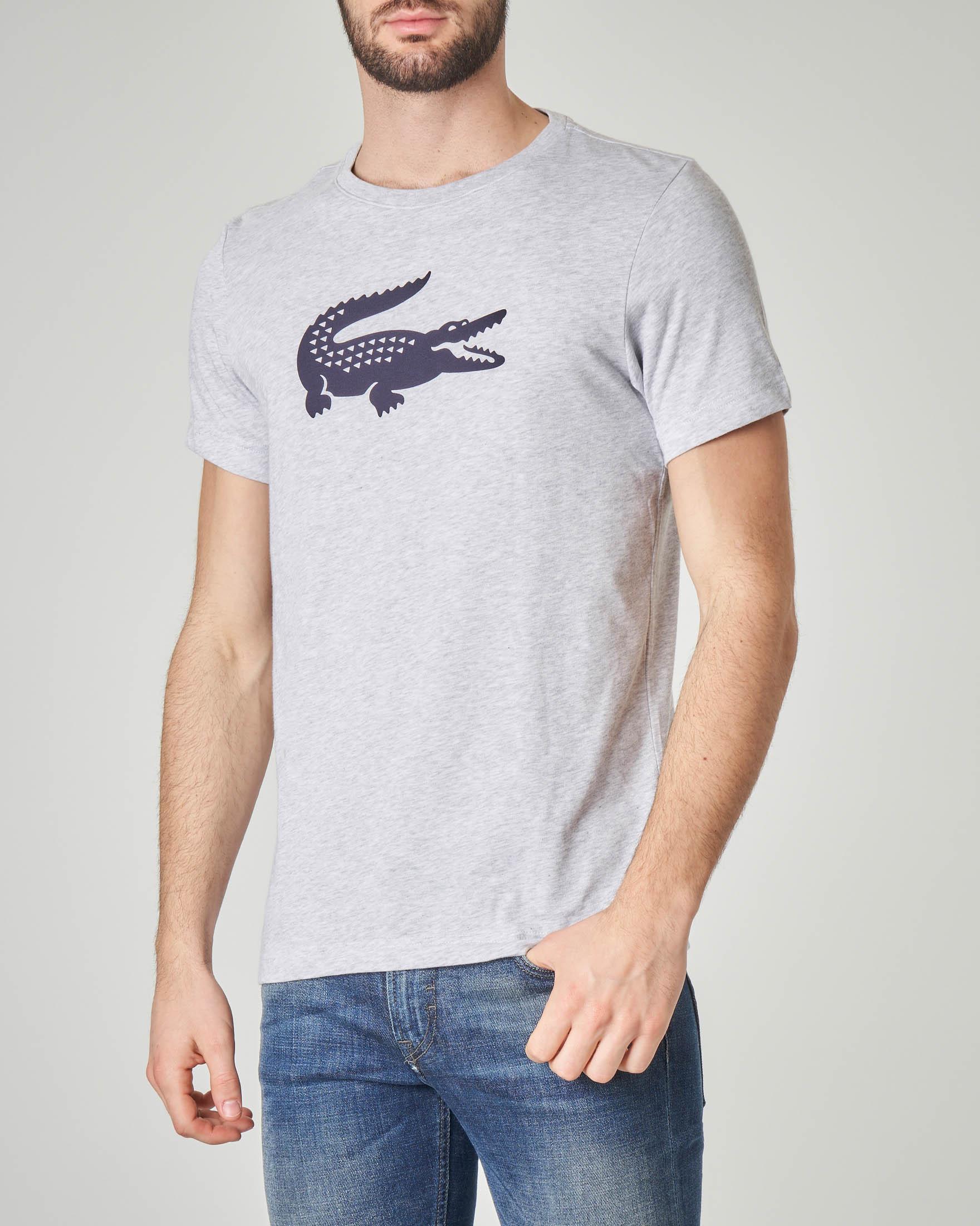 T-shirt grigio melange in jersey tecnico e logo coccodrillo blu