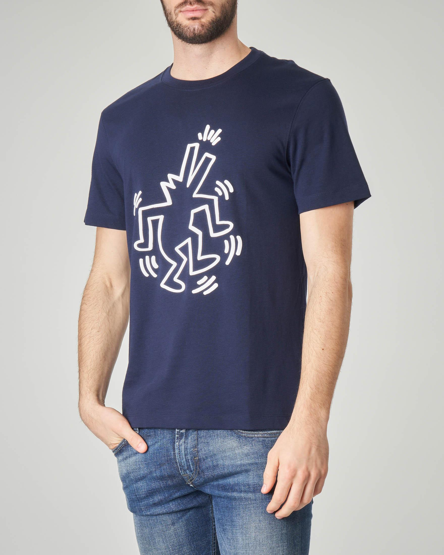 T-shirt blu con stampa Keith Haring