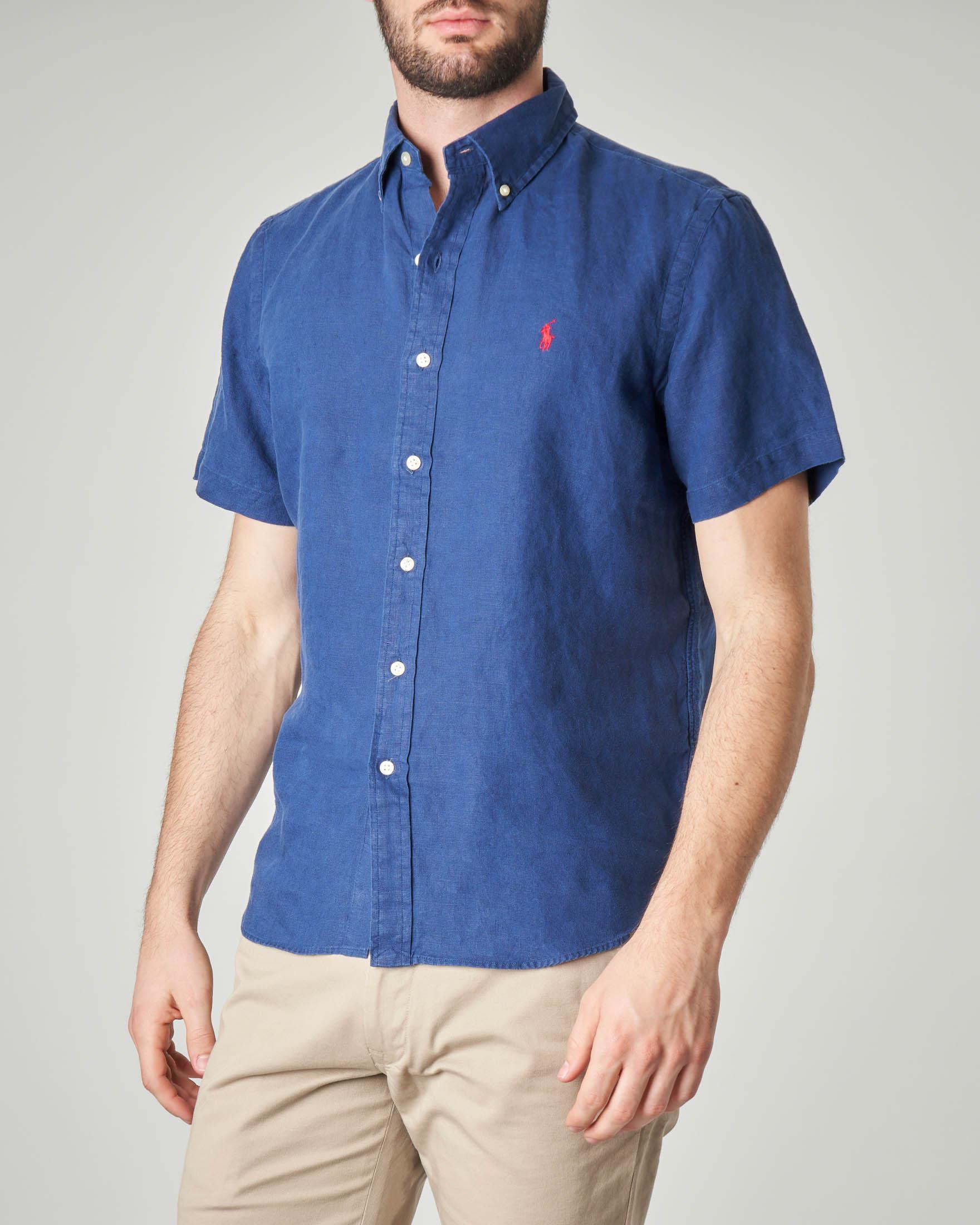 Camicia blu mezza manica in lino