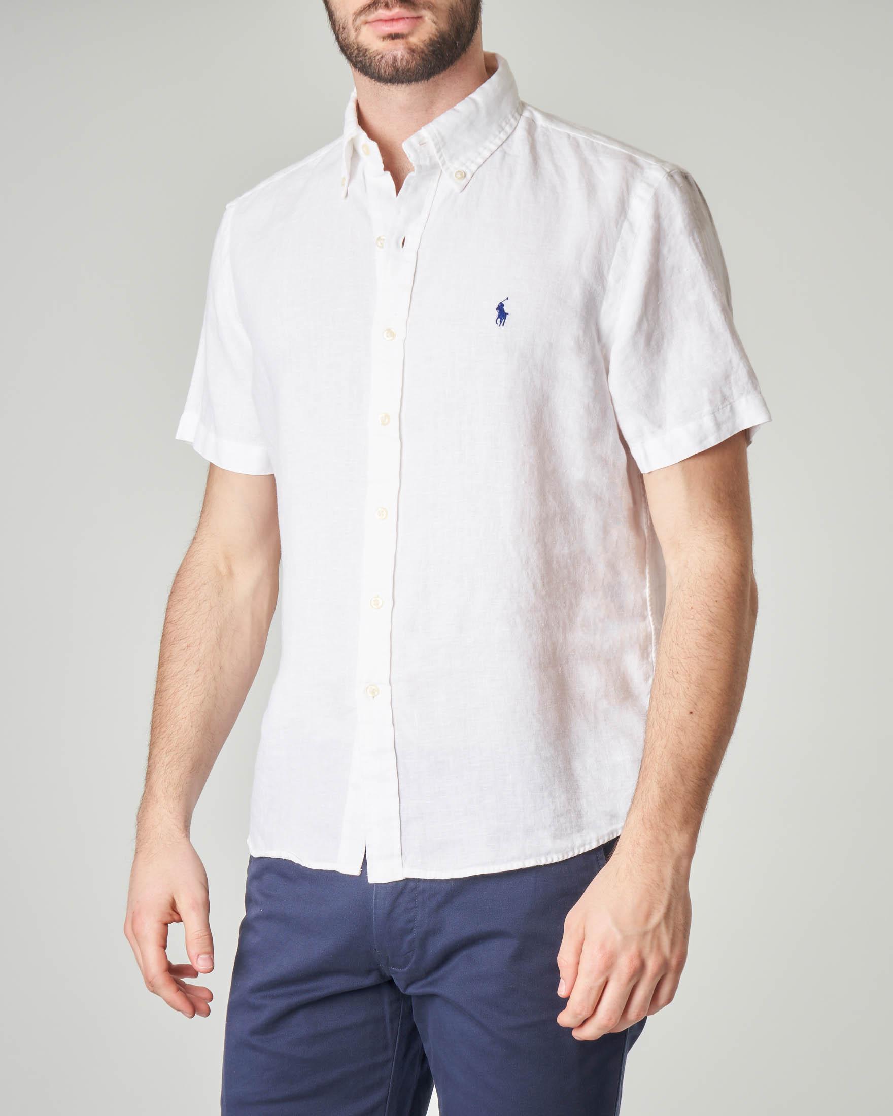 Camicia bianca mezza manica in lino