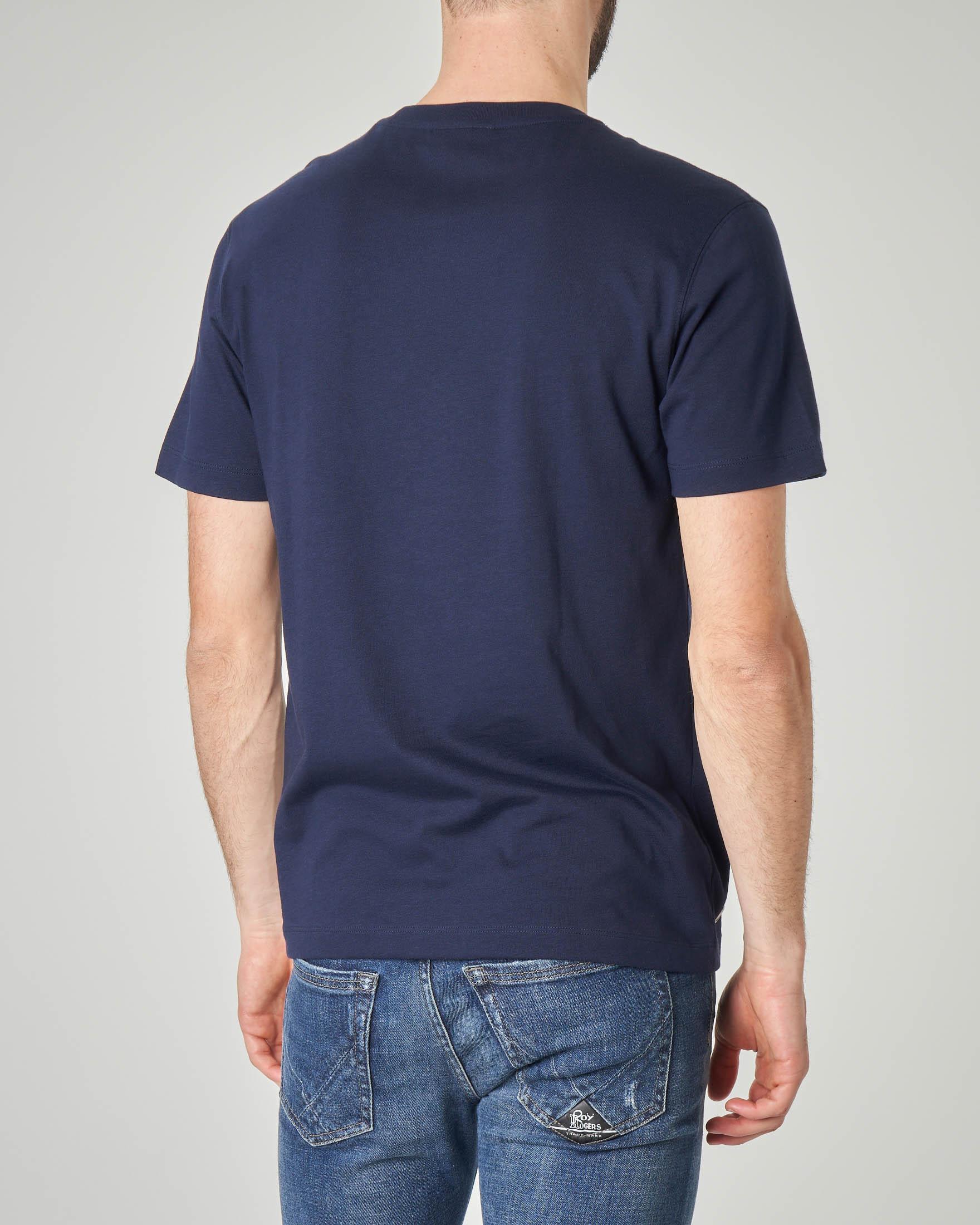 T-shirt blu con logo hawaiano