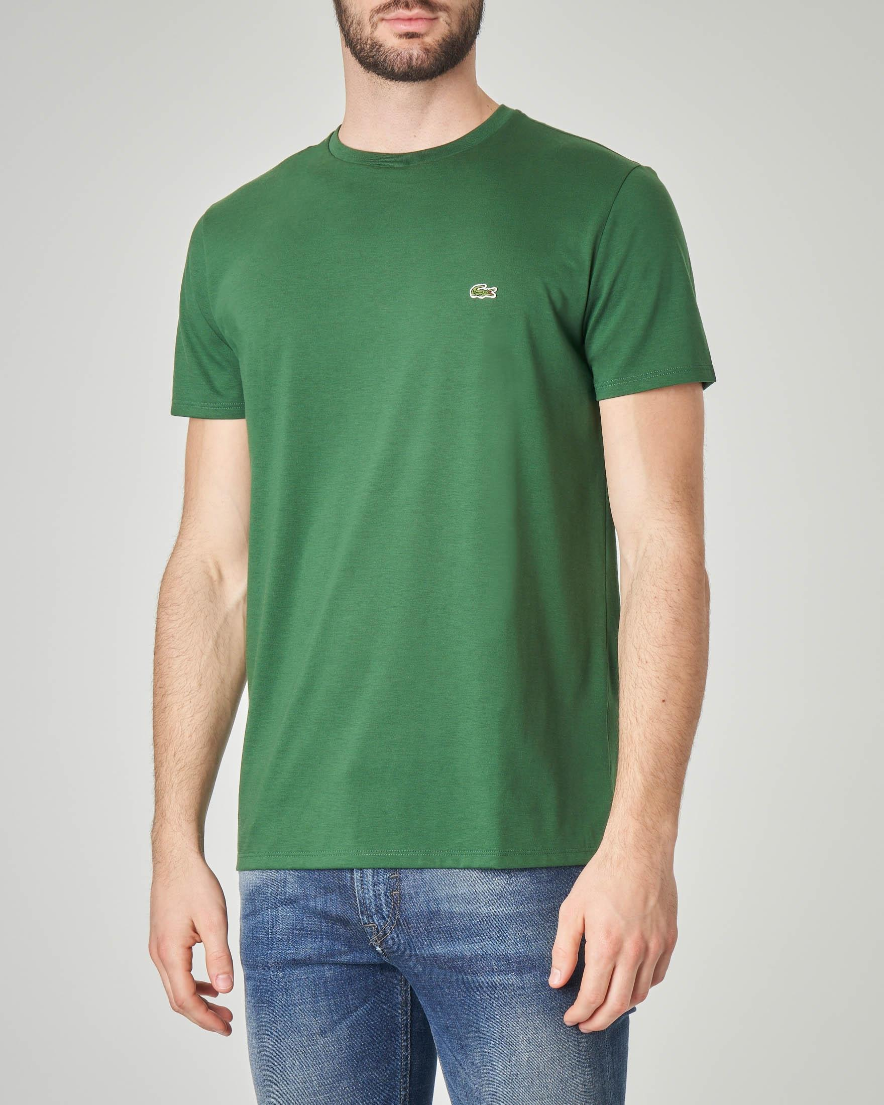T-shirt verde in pima cotton con logo coccodrillo verde