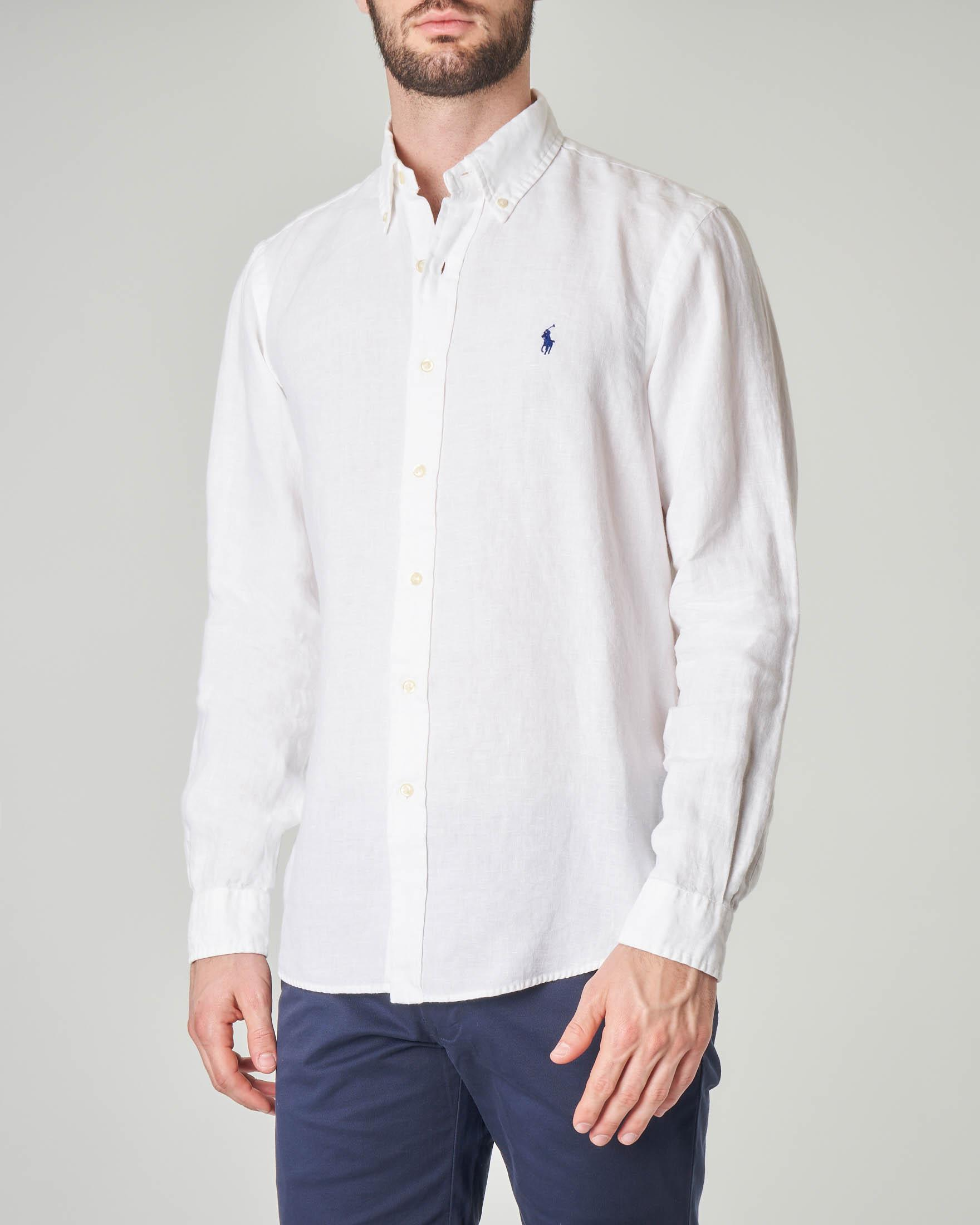 Camicia bianca button down in lino