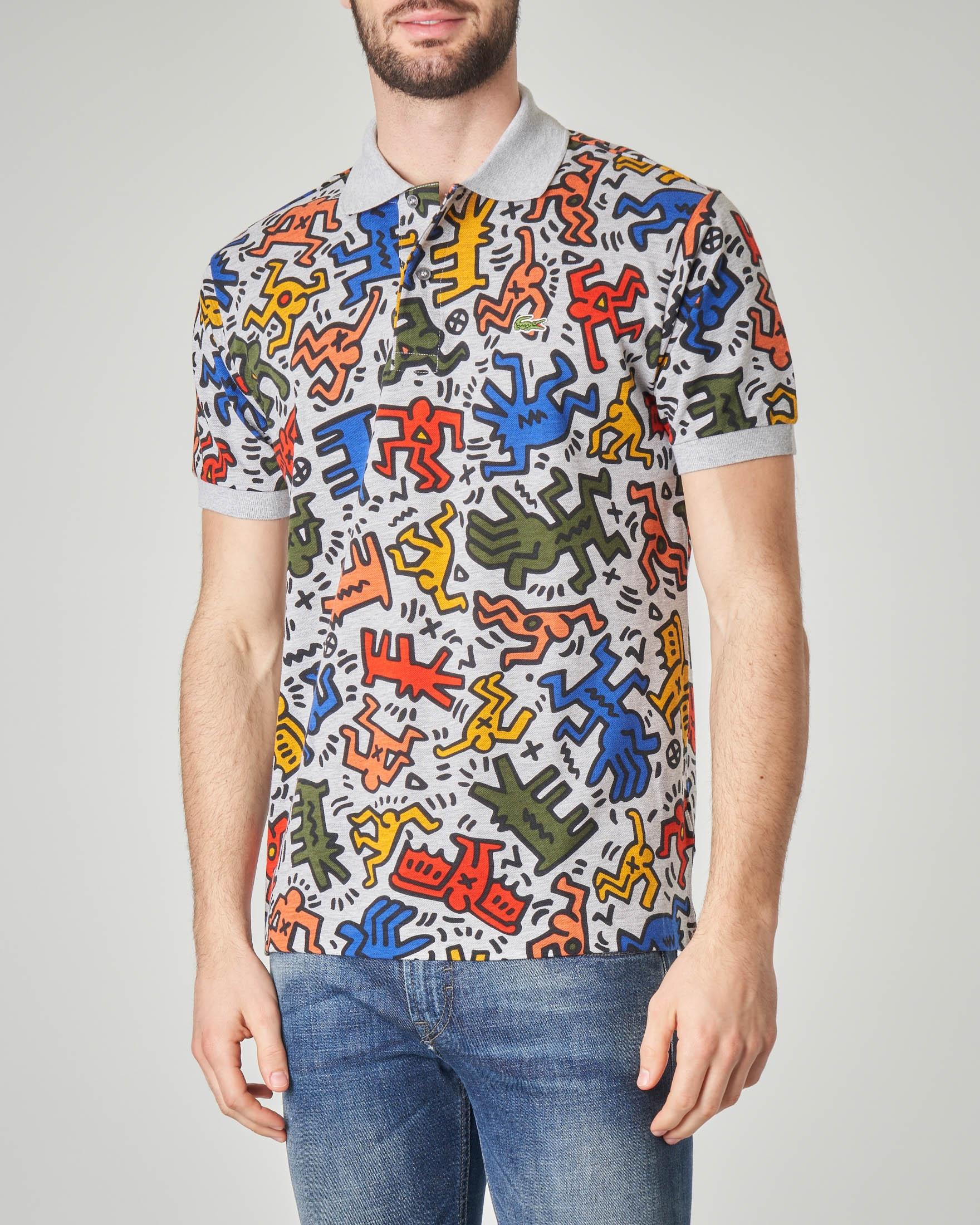 Polo grigia con stampa Keith Haring all over