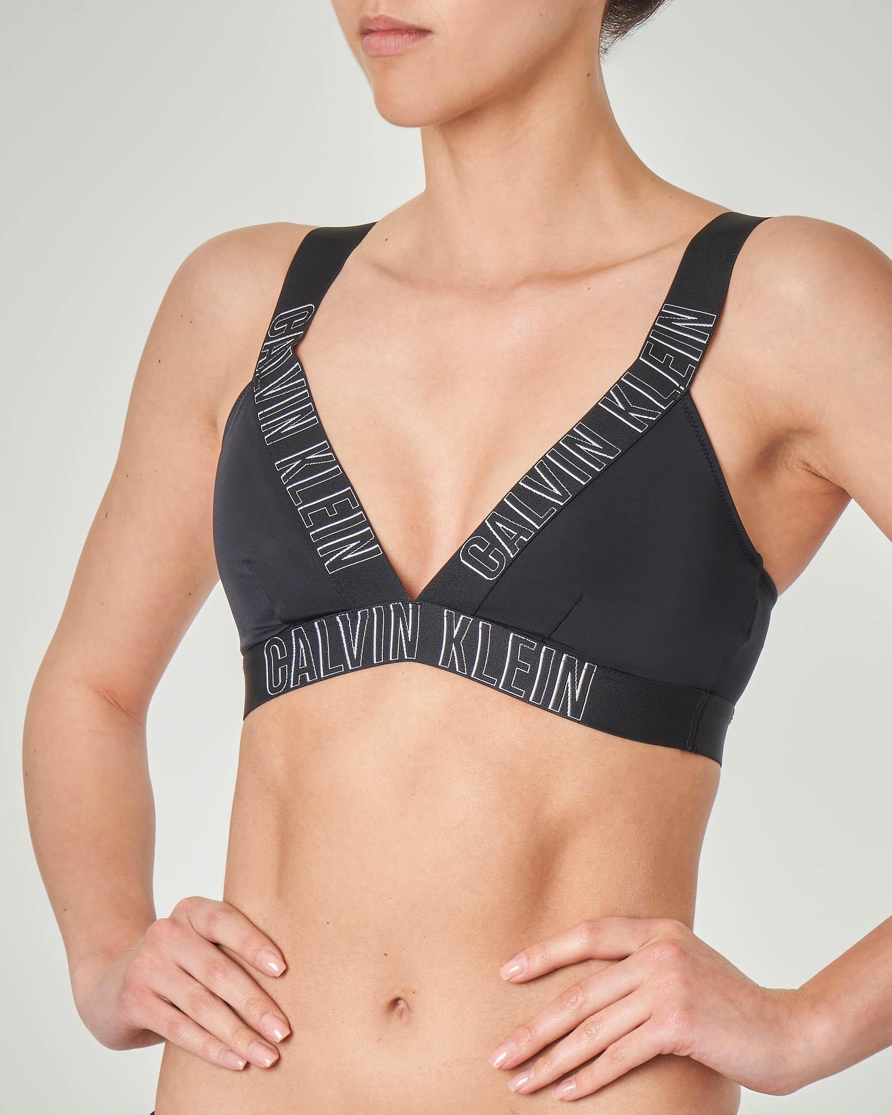 Top bikini nero con spalline incrociate con logo
