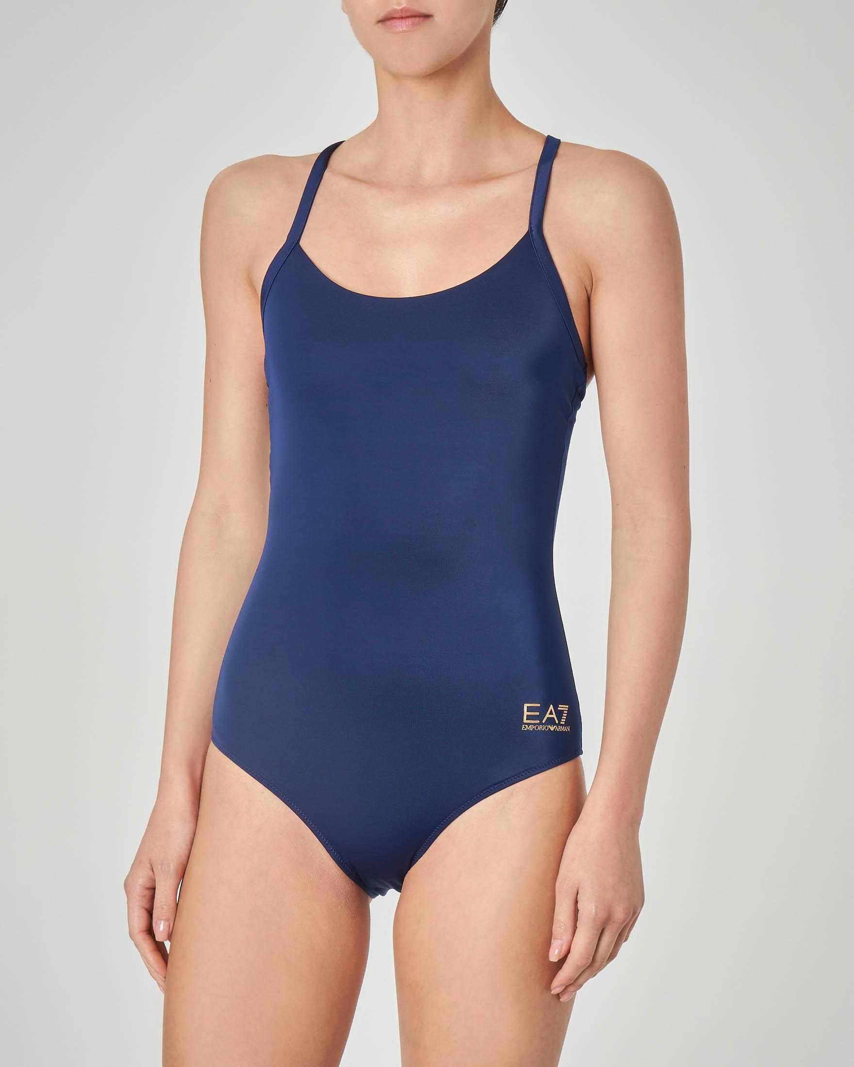 Costume intero olimpionico blu con intreccio sulla schiena
