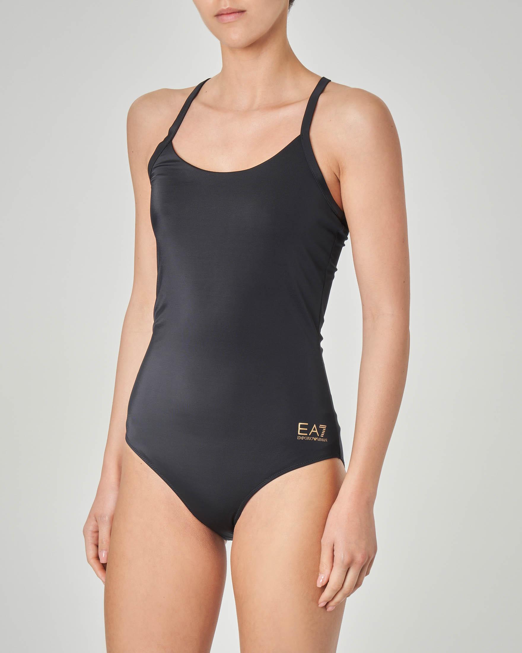 Costume intero olimpionico nero con intreccio sulla schiena