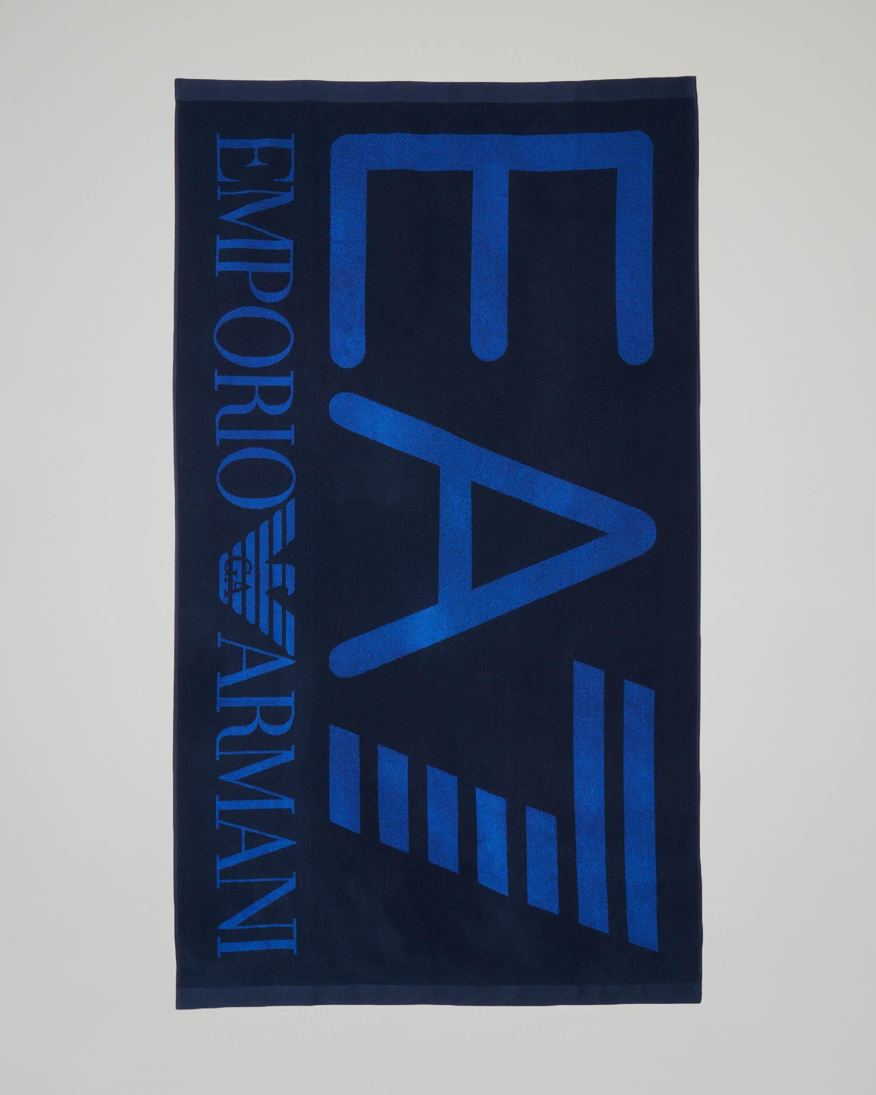 Telo mare blu con logo blu royal