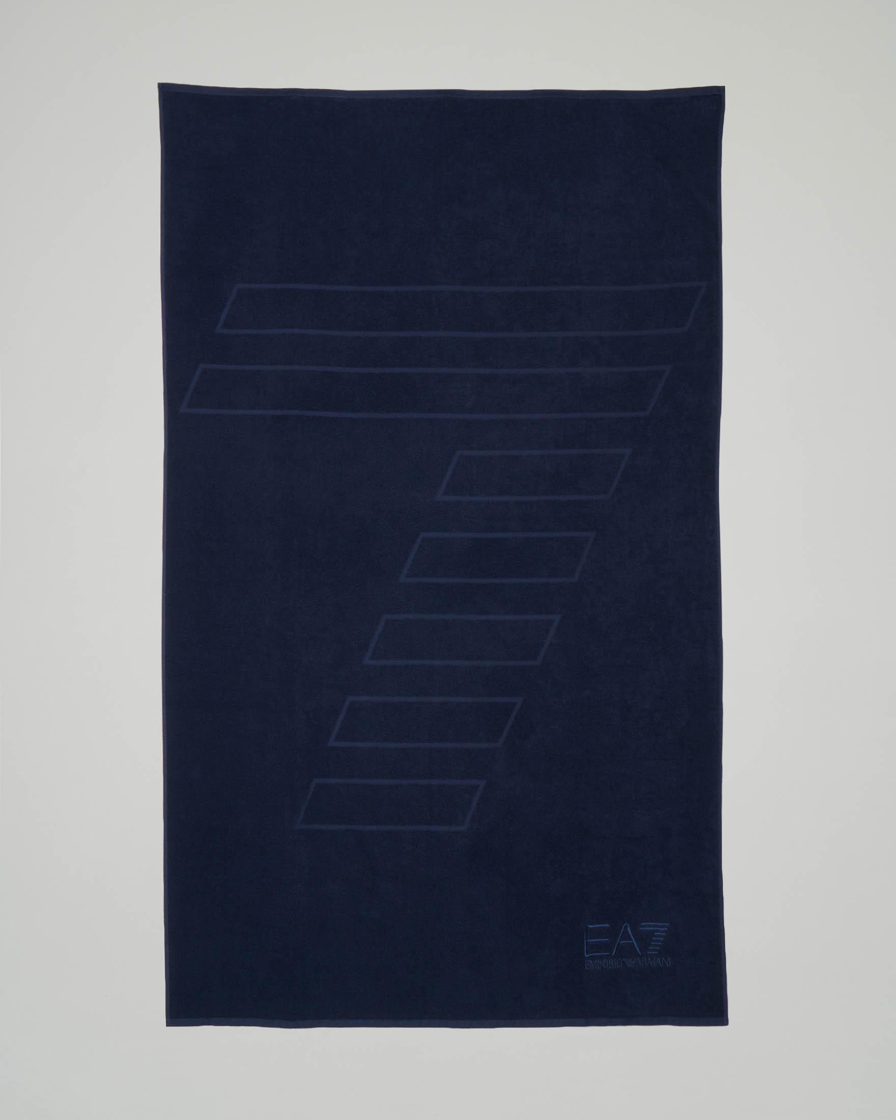 Telo mare blu con logo e 7 stampati