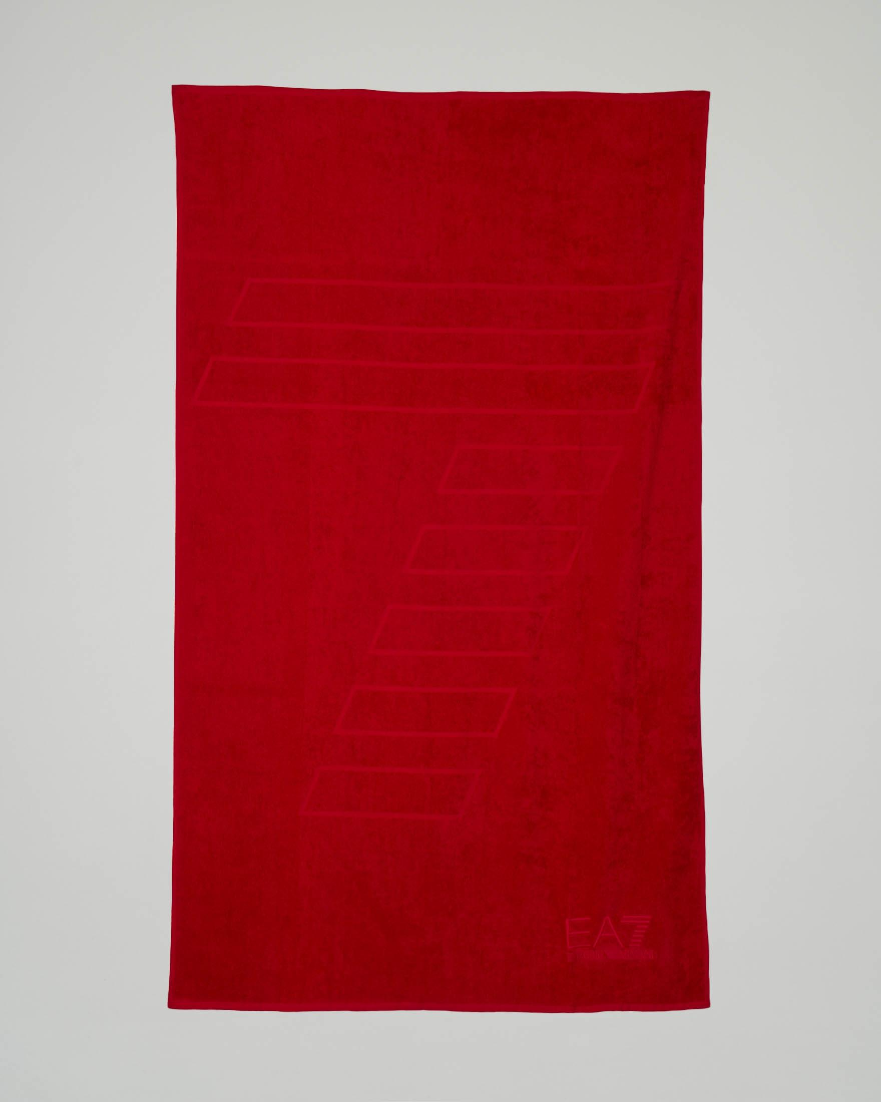 Telo mare rosso con logo e 7 stampati