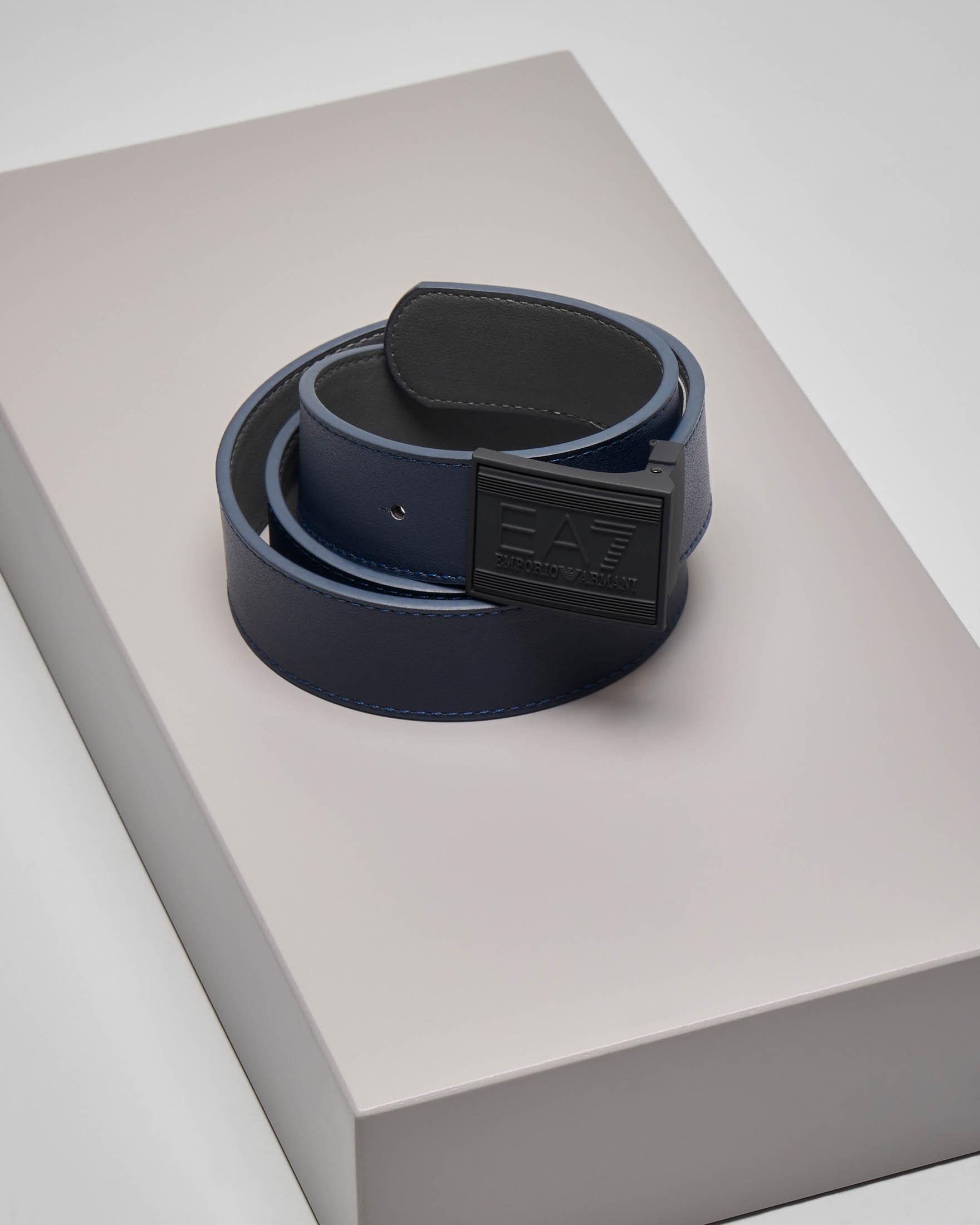 Cintura blu reversibile in grigio scuro
