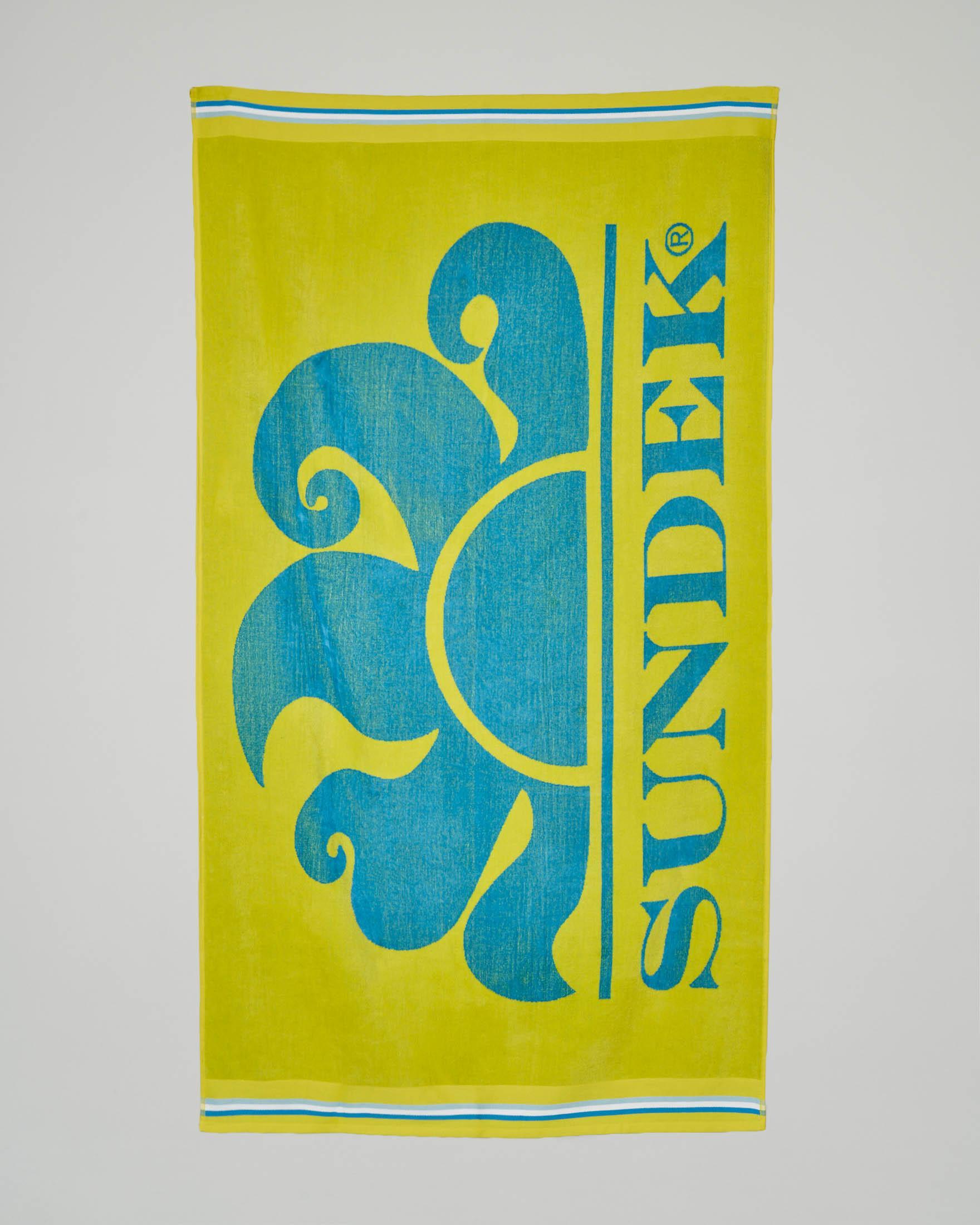 Telo mare giallo con logo azzurro
