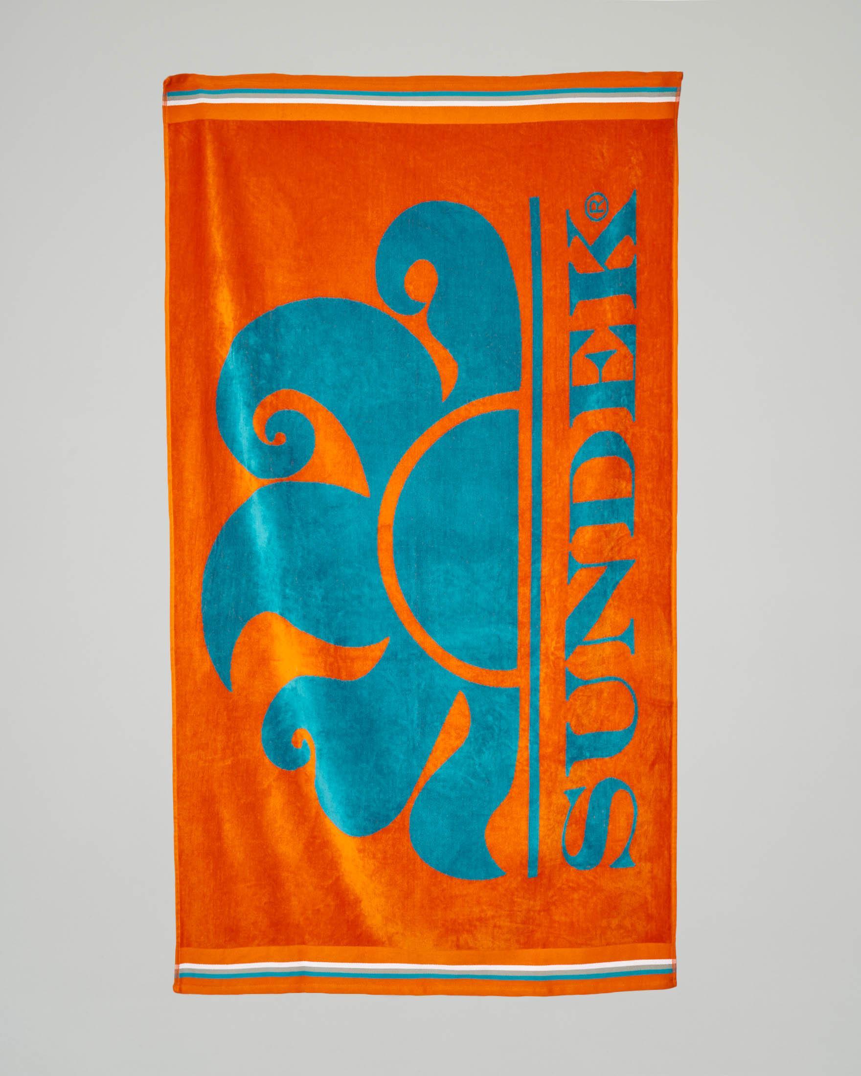 Telo mare arancione con logo azzurro