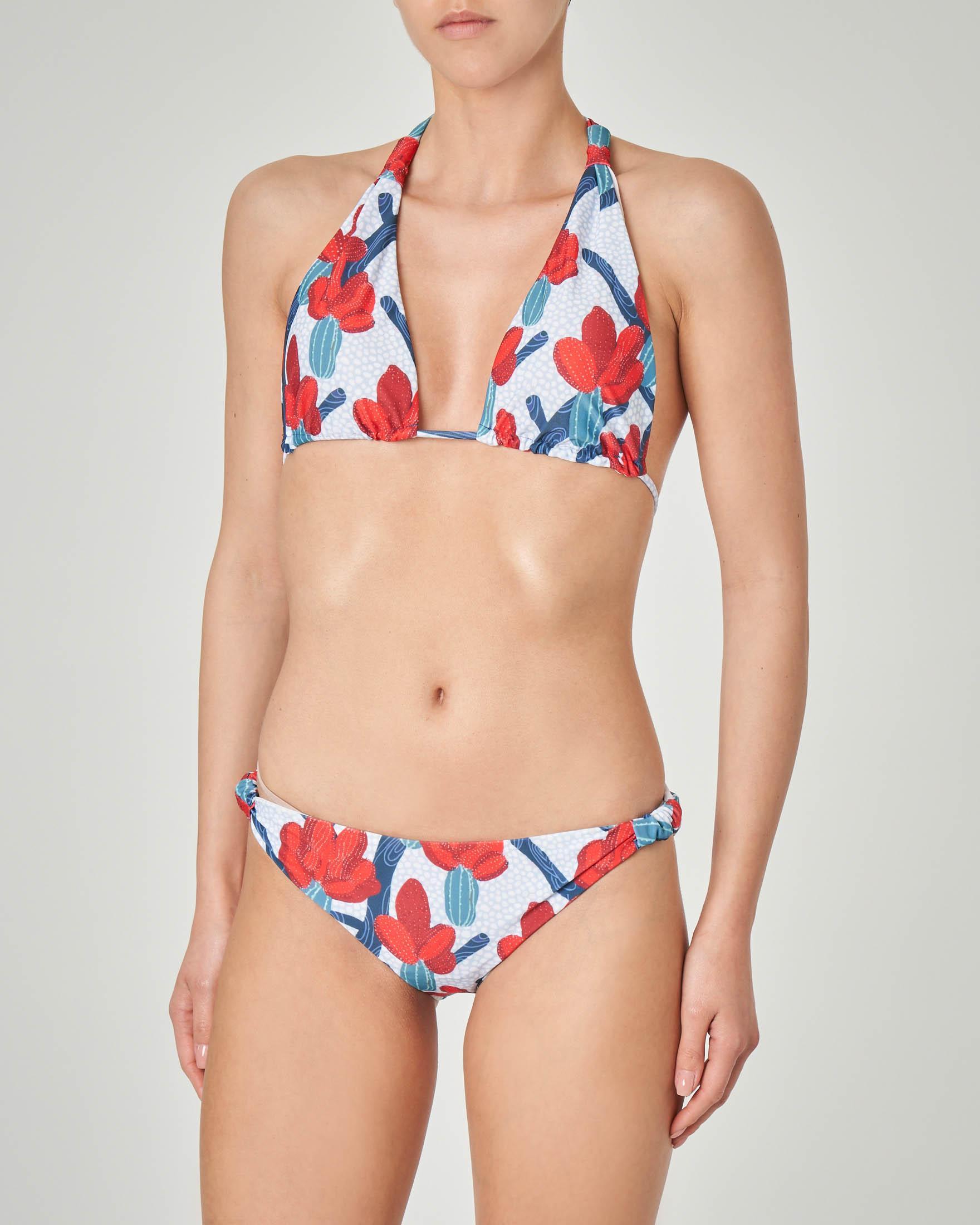Bikini con reggiseno a triangolo azzurro a pois con stampa cactus