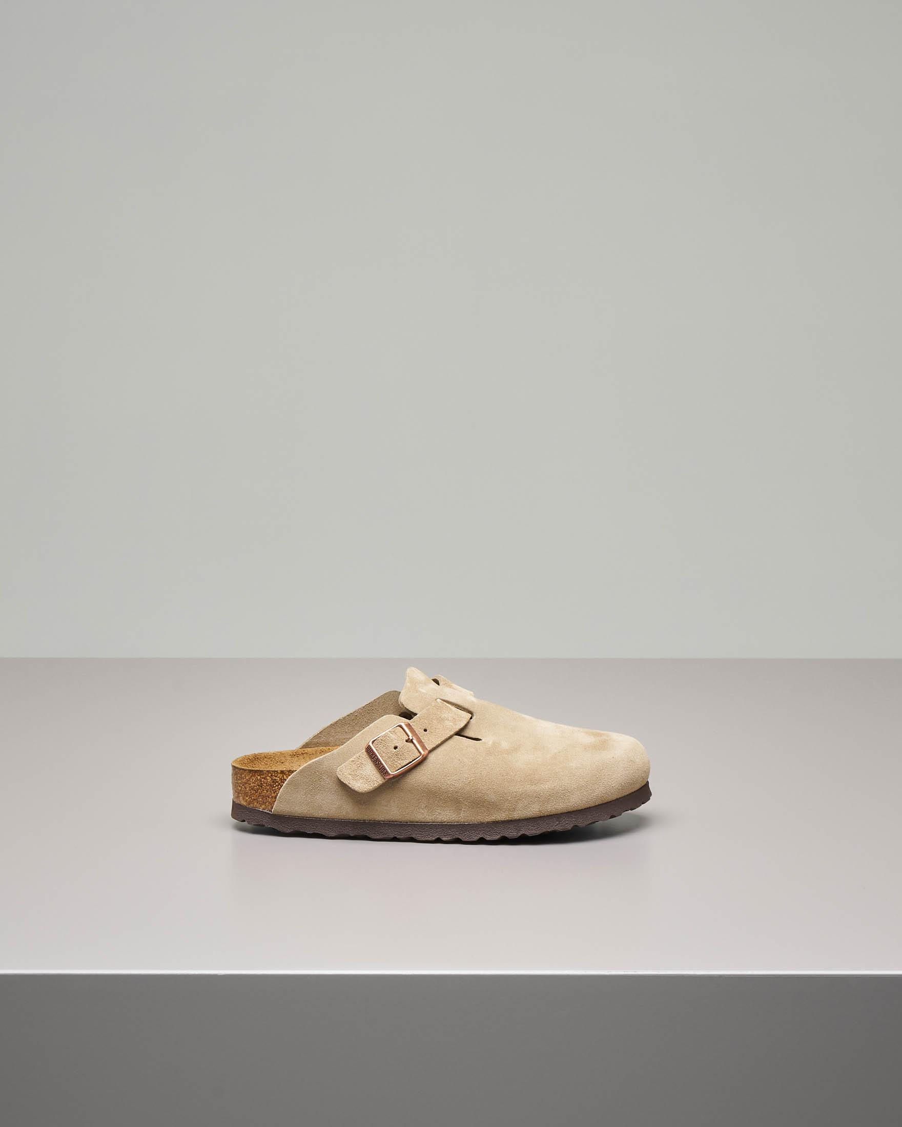 Sabot Boston beige in pelle scamosciata