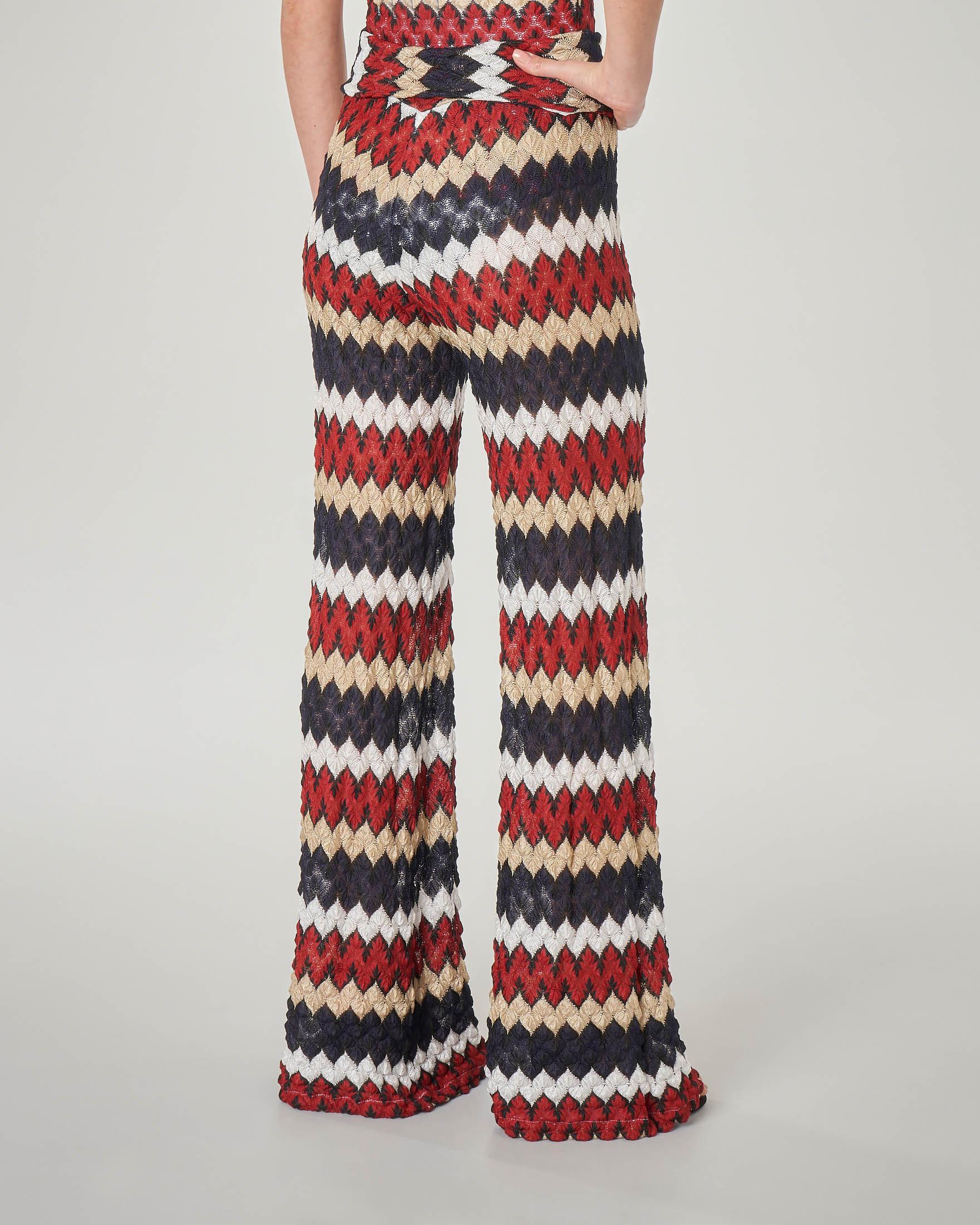 Pantaloni palazzo a righe multicolor lavorazione crochet