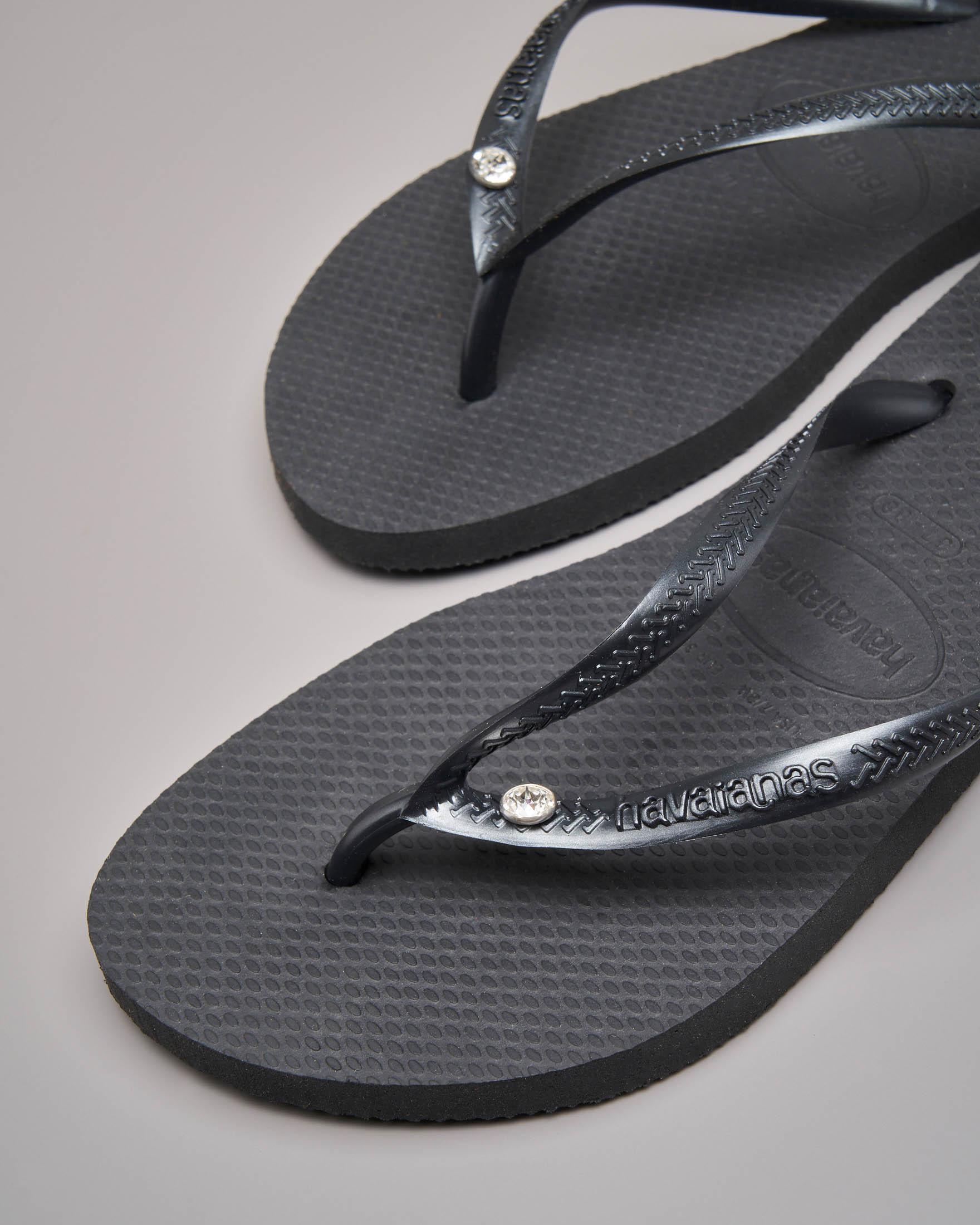 Havaianas Crystal Glamour nere con logo tono su tono e strass applicato sulle fascette